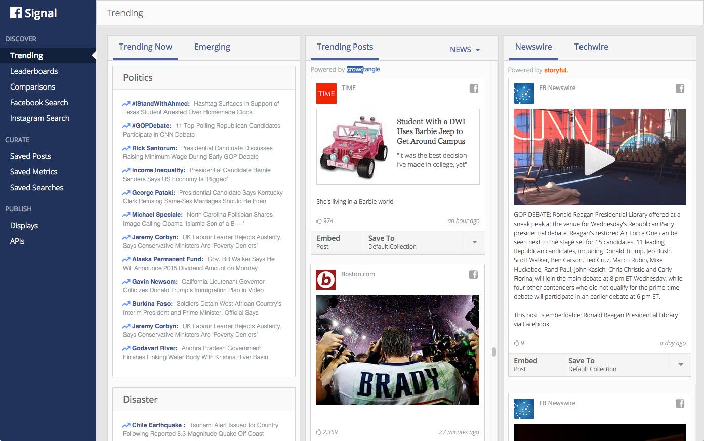 Facebook Signal dashboard