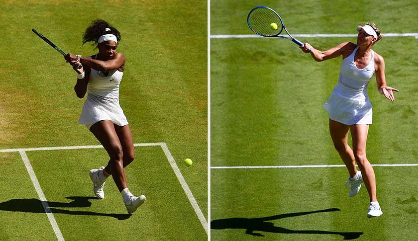 Serena Williams, left, and Maria Sharapova.