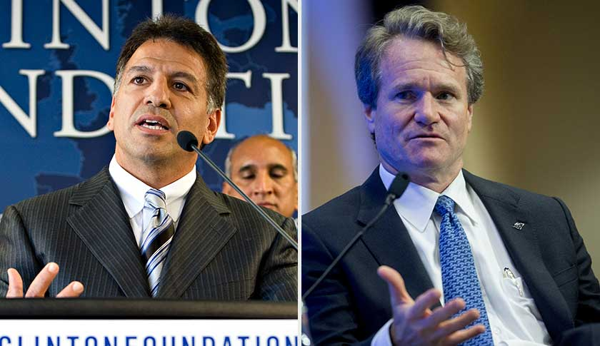 Mylan CEO Robert Coury, left, in 2009 and Bank of America CEO Brian Moynihan in 2014.