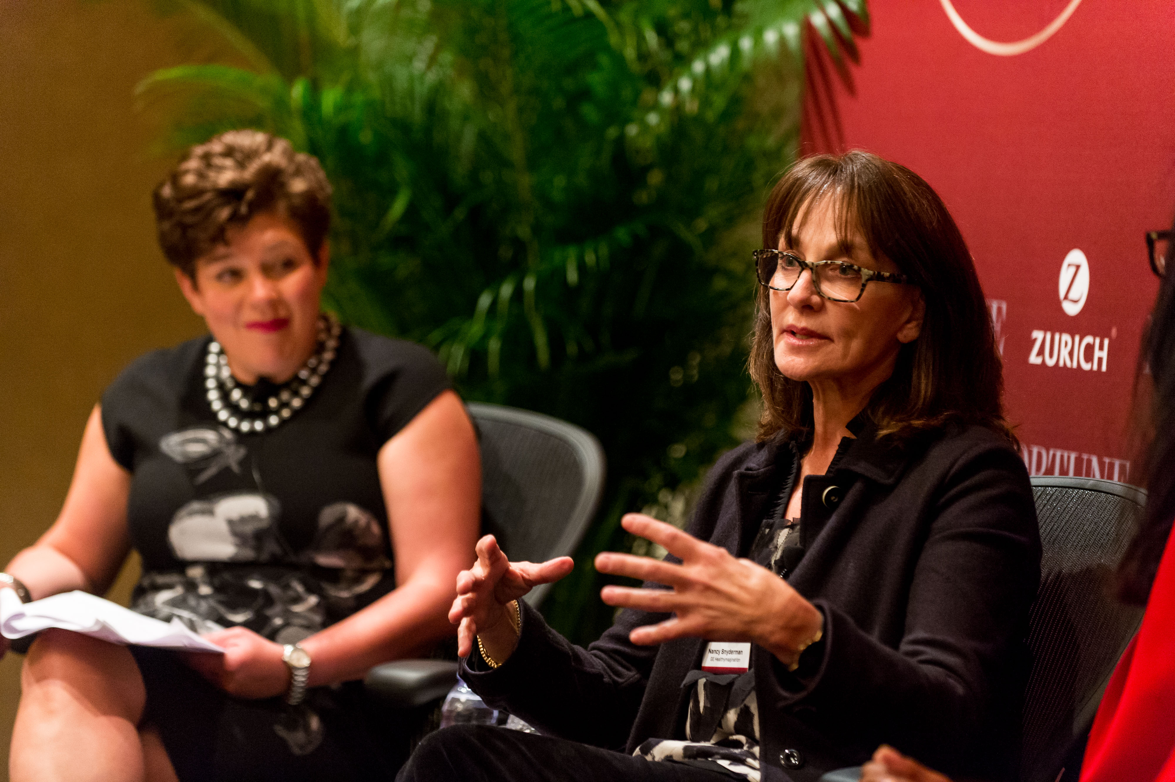 Panel moderator Vicki Medvec (left) and Dr. Nancy Snyderman at Fortune's Most Powerful Women summit