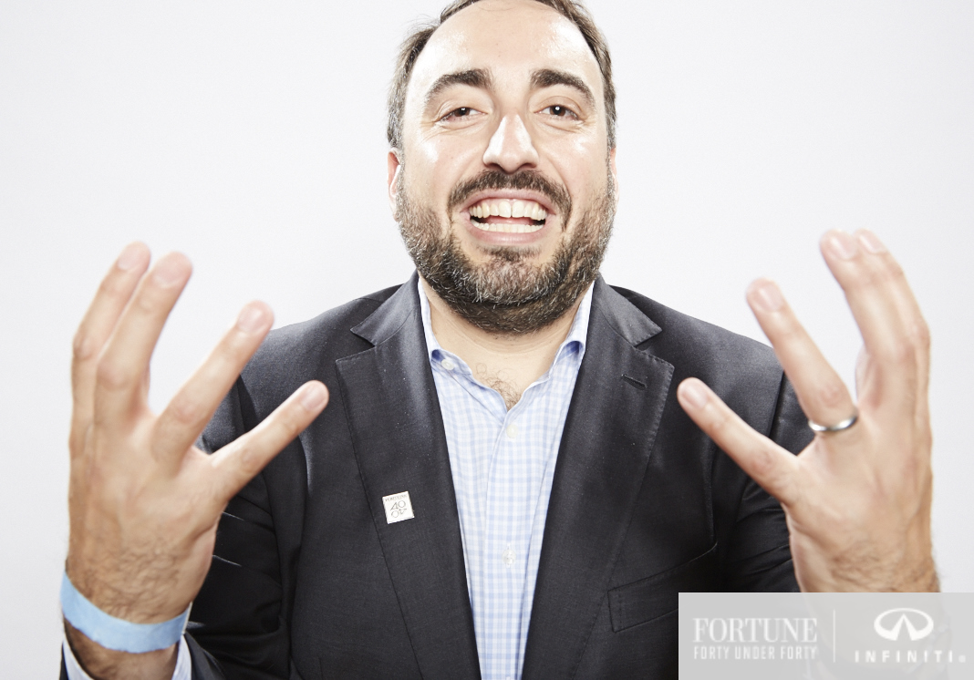 Alex Stamos, Facebook's chief security officer, poses for a spontaneous photo at Fortune's 40 Under 40 party in 2015.