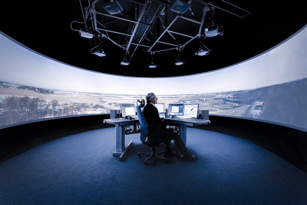 Saab's mock-up of its remote air traffic control tower in Sundsvall, Sweden.