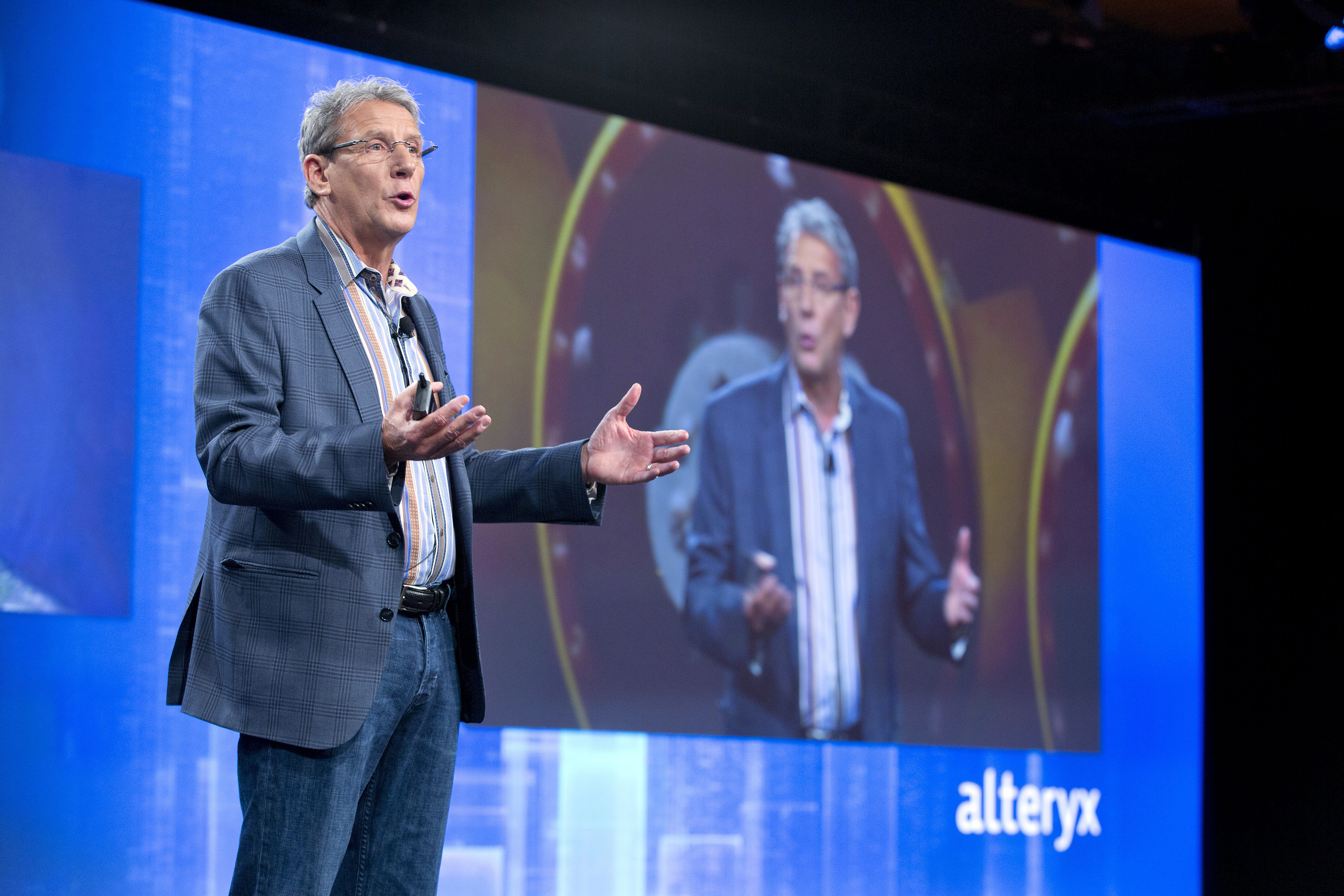 Alteryx chairman and CEO Dean Stoecker addresses the company's customer conference in October 2015.