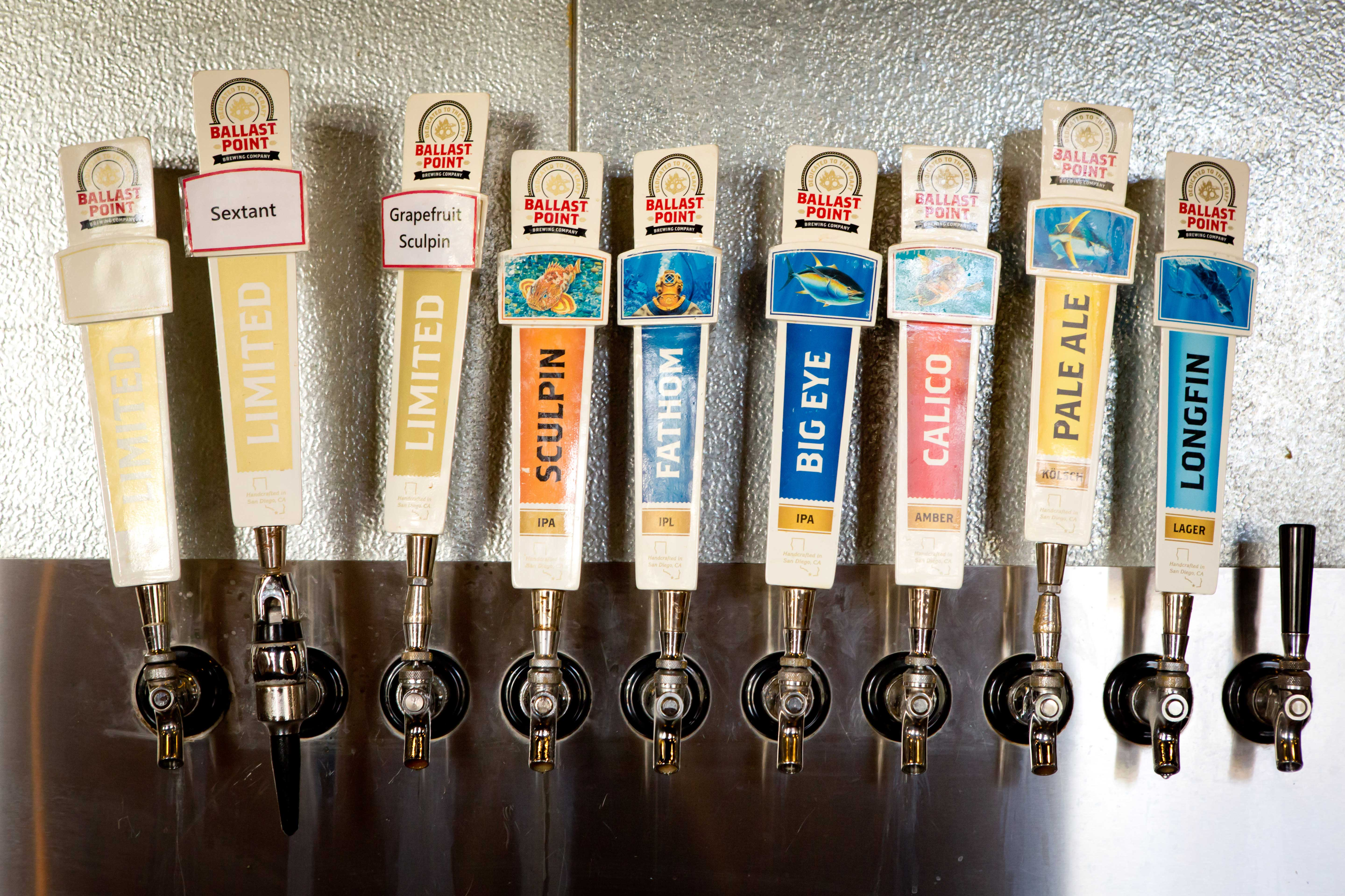 Beer taps in San Diego micro brewery