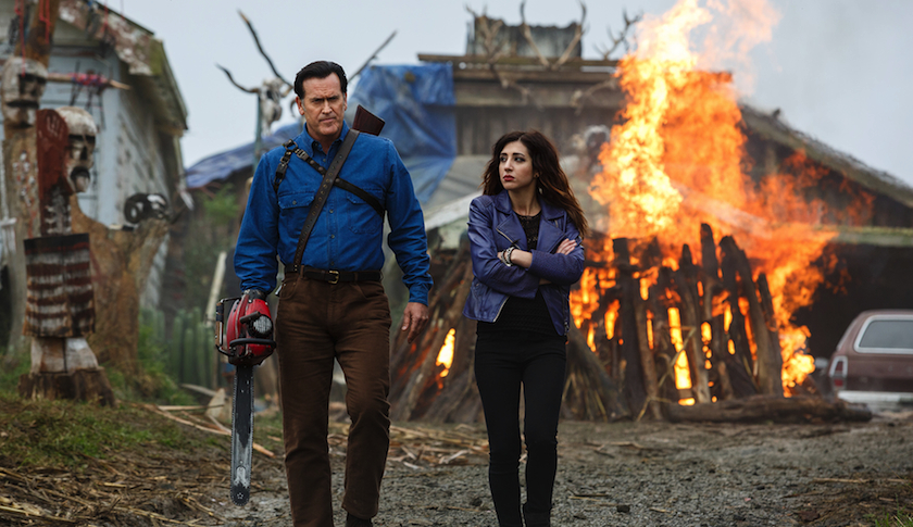 "Bruce Campbell as Ash and Dana DeLorenzo as Kelly in the new Starz comedy/horror series, ""Ash vs. Evil Dead"""