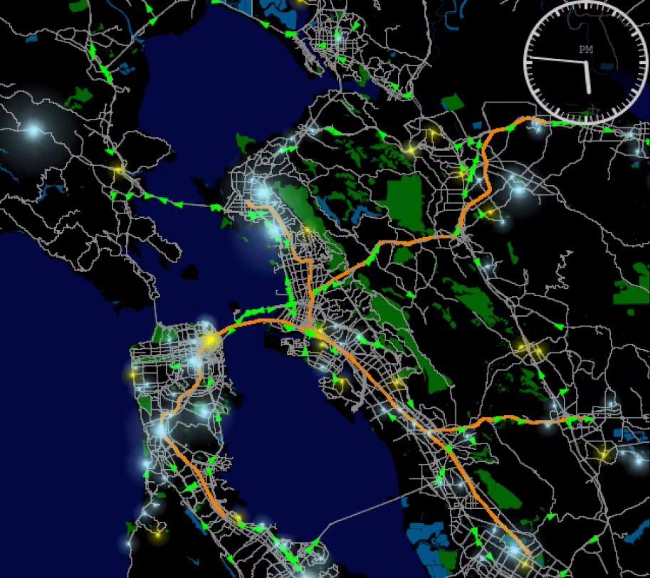 Traffic flows in San Francisco Bay
