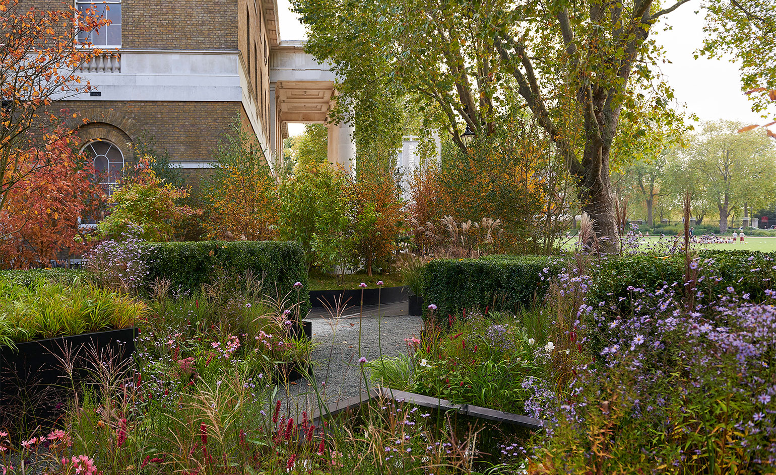This free of charge exhibition begins just off the King's Road with a contemporary English garden, landscaped by this year's RHS Chelsea Flower Show winners Harry and David Rich.