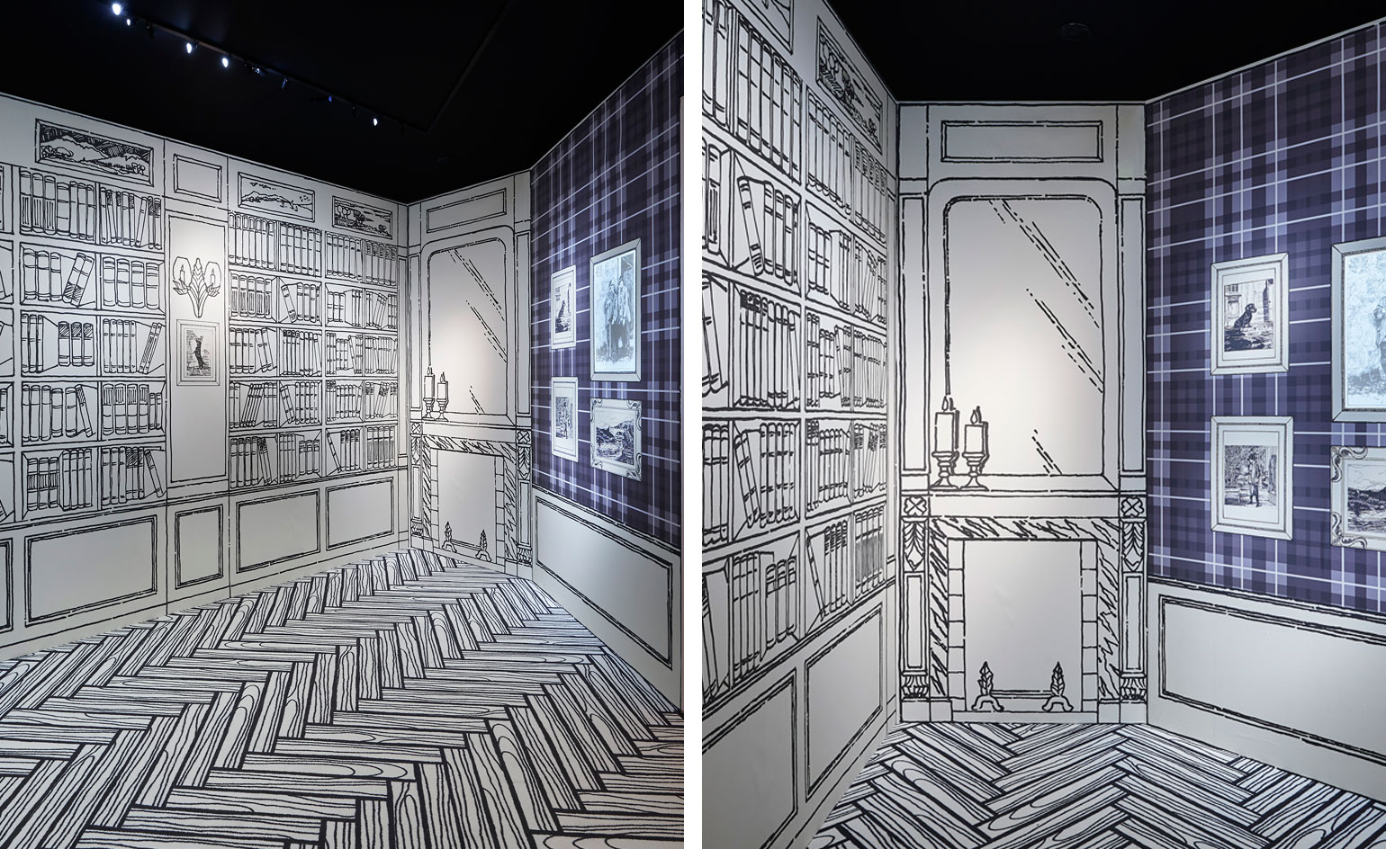 An illustrative impression of Chanel's first hat boutique in Deauville is followed by personal drawings of her travels to Scotland, England and Venice, which come to life when scanned by the exhibition's purpose-built app.
