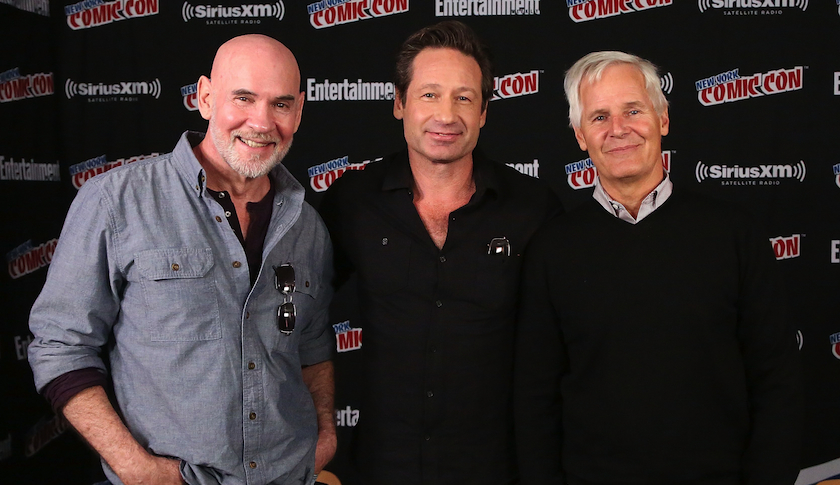 "Left to right: ""X-Files"" actors Mitch Pileggi and David Duchovny, and show creator Chris Carter at Comic-Con in New York, Oct. 10"