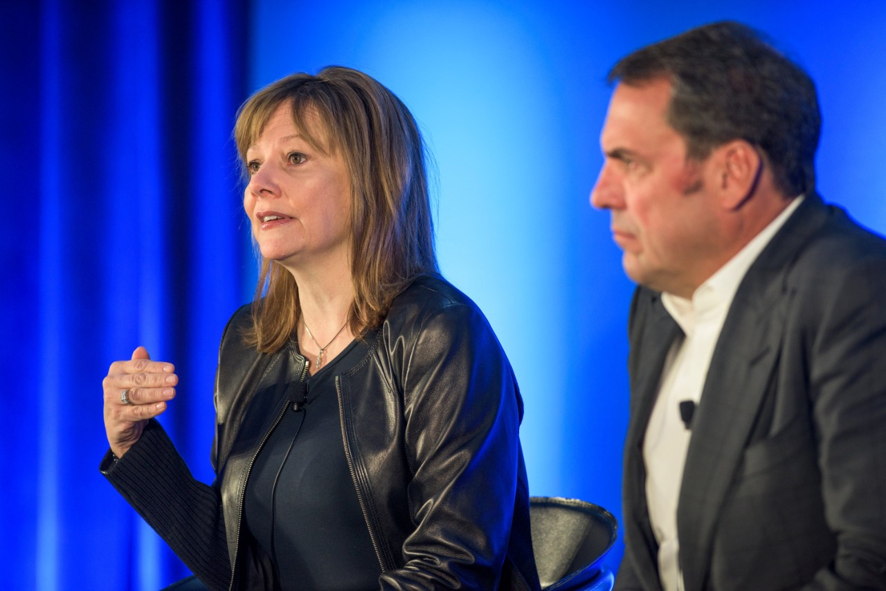 General Motors CEO Mary Barra and Mark Reuss, executive VP of global product development, global purchasing and supply chain, outline the company's plans to capitalize on the future of personal mobility at the GM Milford Proving Grounds in Michigan.