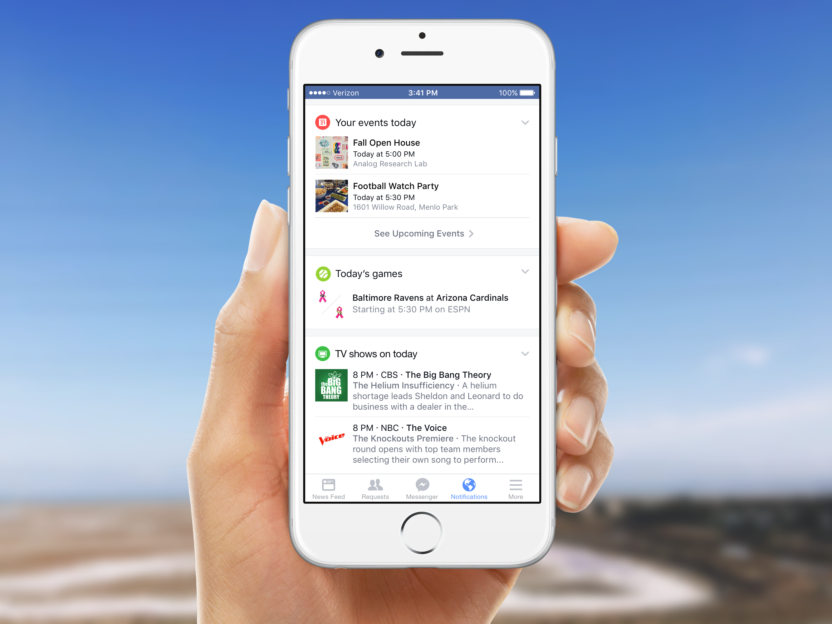Facebook's new notifications tab on mobile.