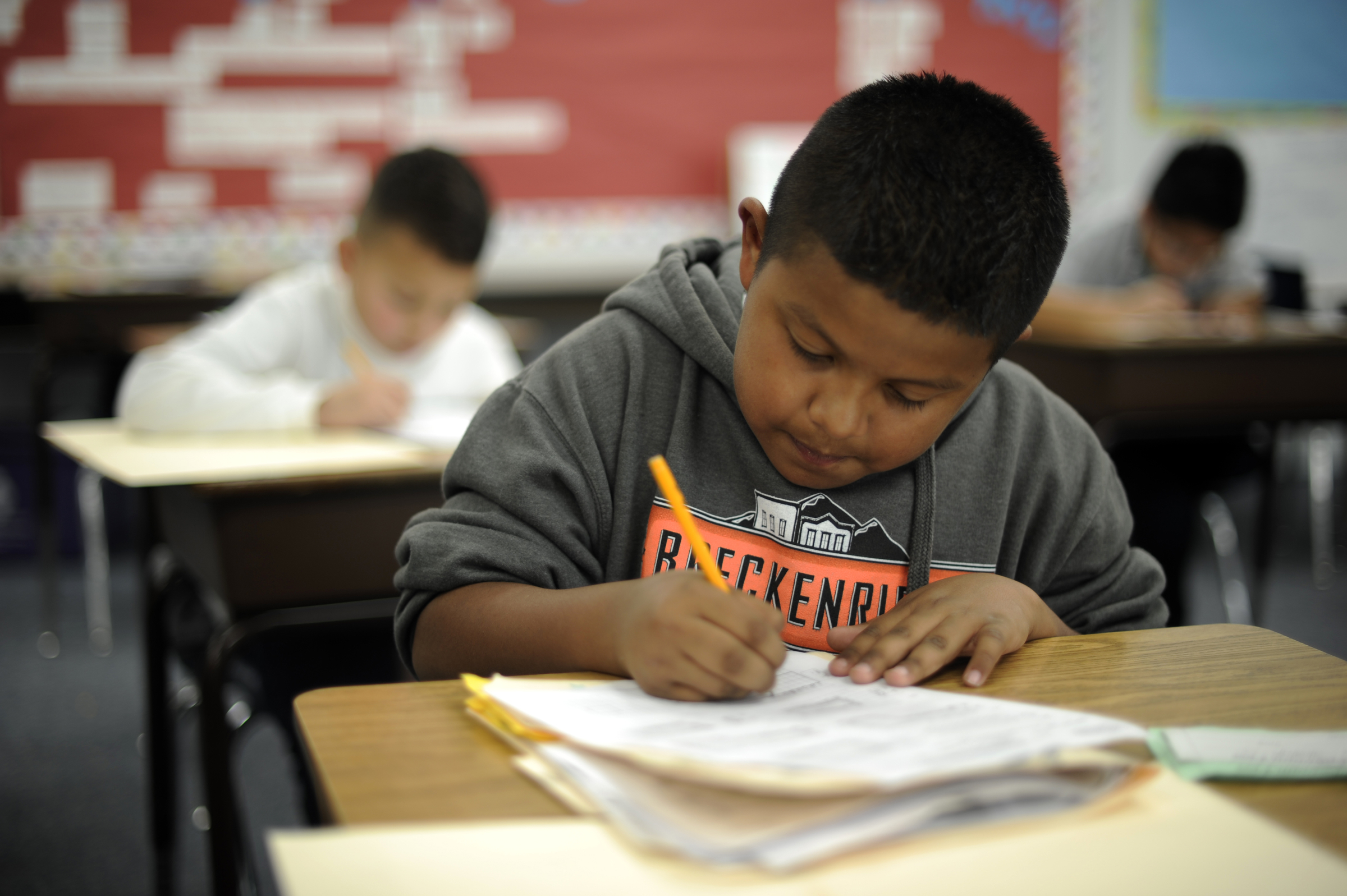 Jorge Saucedo of 4th grade is in the math class at Jose Valdez Elementary School in Denver, CO.