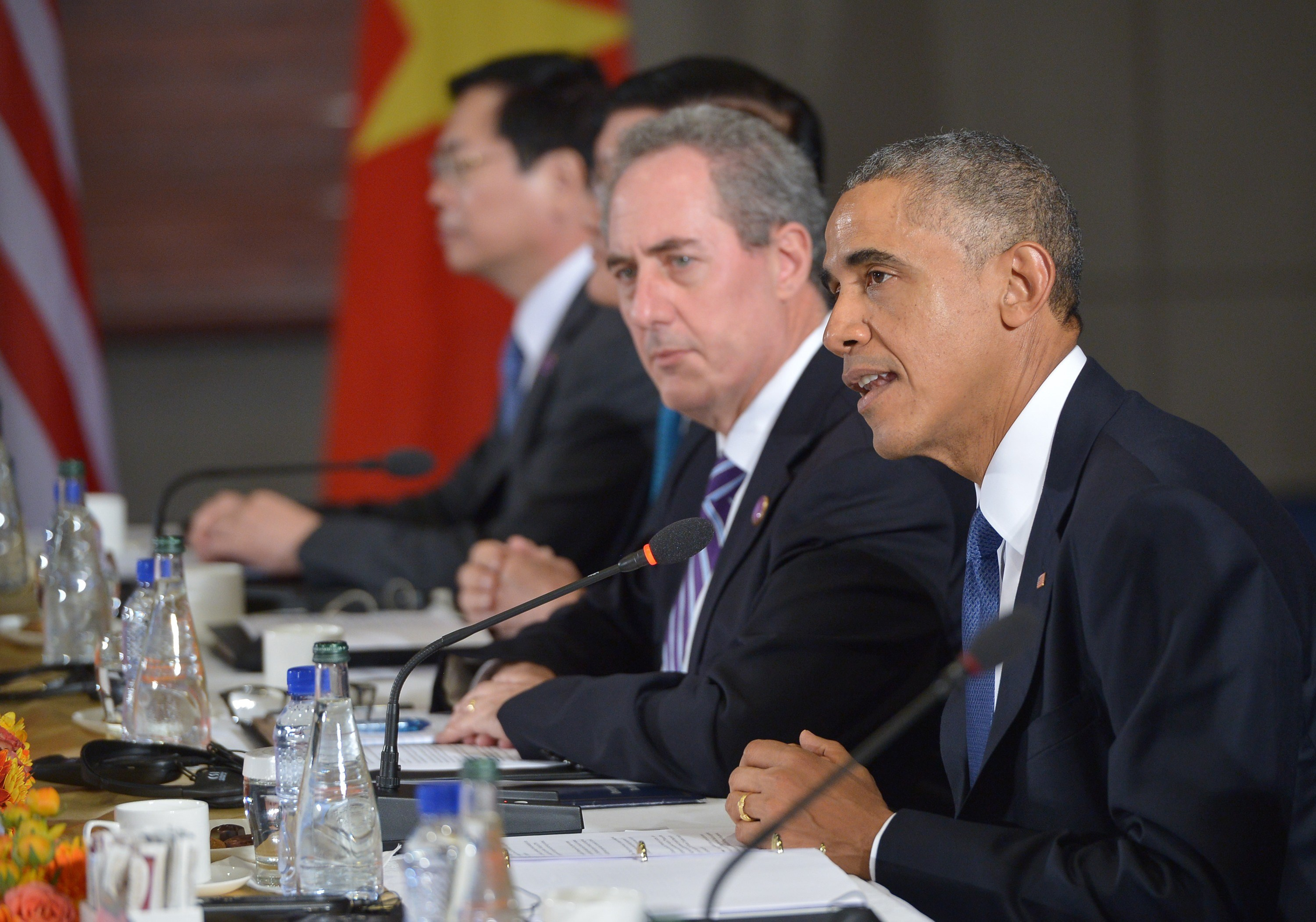 U.S. President Barack Obama speaks during a meeting with leaders from the Trans-Pacific Partnership at the US Embassy in Beijing on November 10, 2014 in Beijing. The TPP was agreed upon with 11 other Pacific Rim nations.