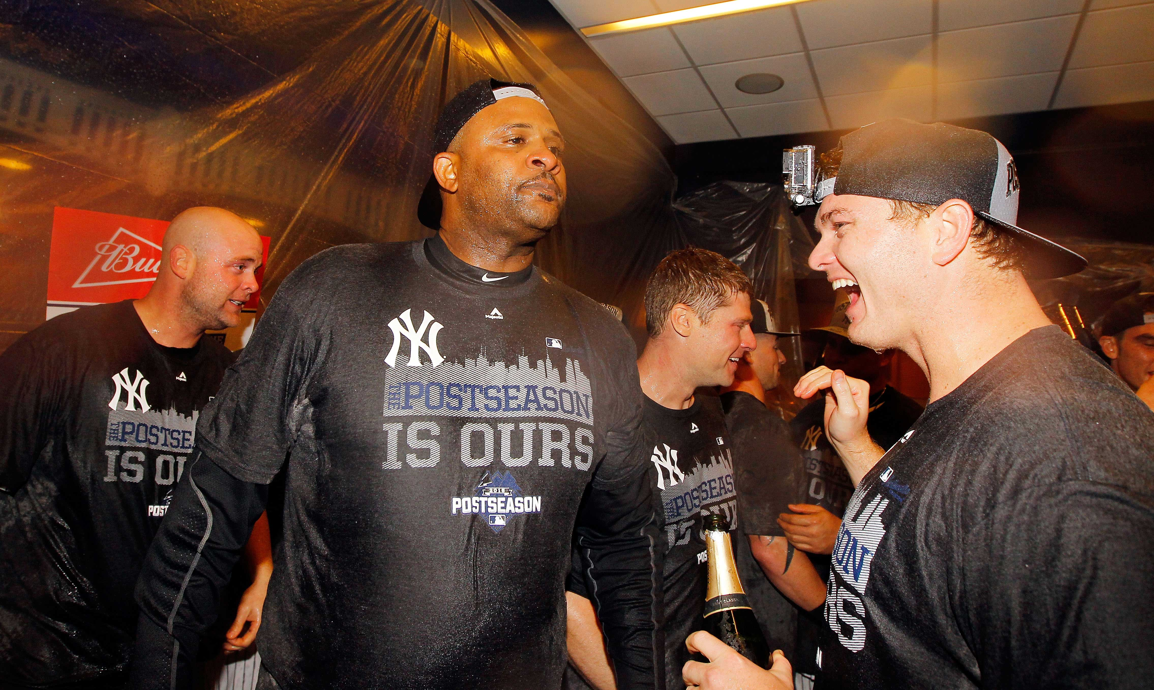 CC Sabathia celebrating the New York Yankees 2015 wildcard victory days before he announced he was checking himself into rehab.