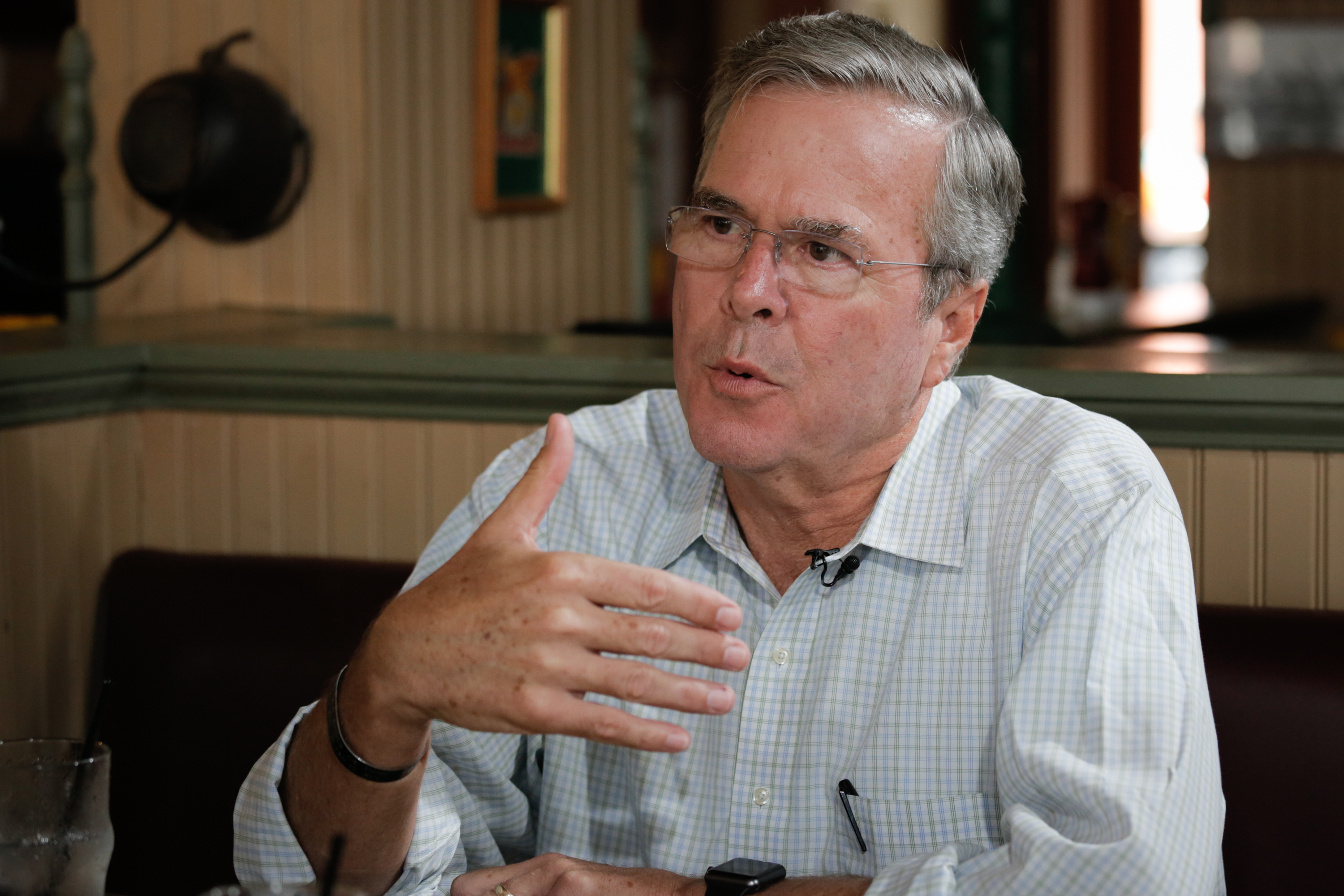 CNBC NEWS-- Pictured: Jeb Bush, former Governor of Florida and 2016 presidential election candidate, in an interview at the Parlor City Pub and Eatery in Cedar Rapids, Iowa on September 22, 2015 -- (Photo by: Mary Stevens/CNBC/NBCU Photo Bank)