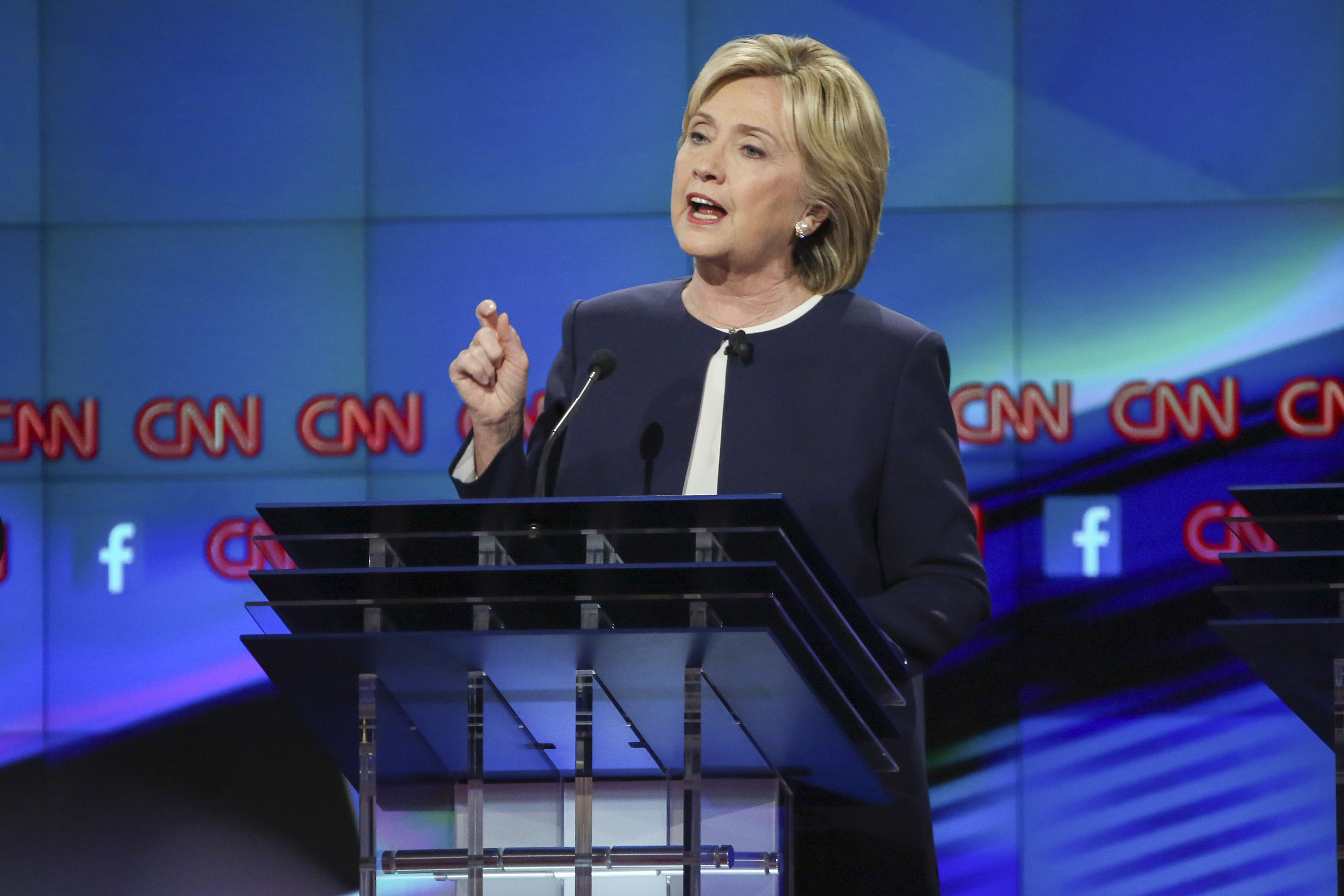 Hillary Clinton in the first Democratic presidential debate in Las Vegas on Oct. 13