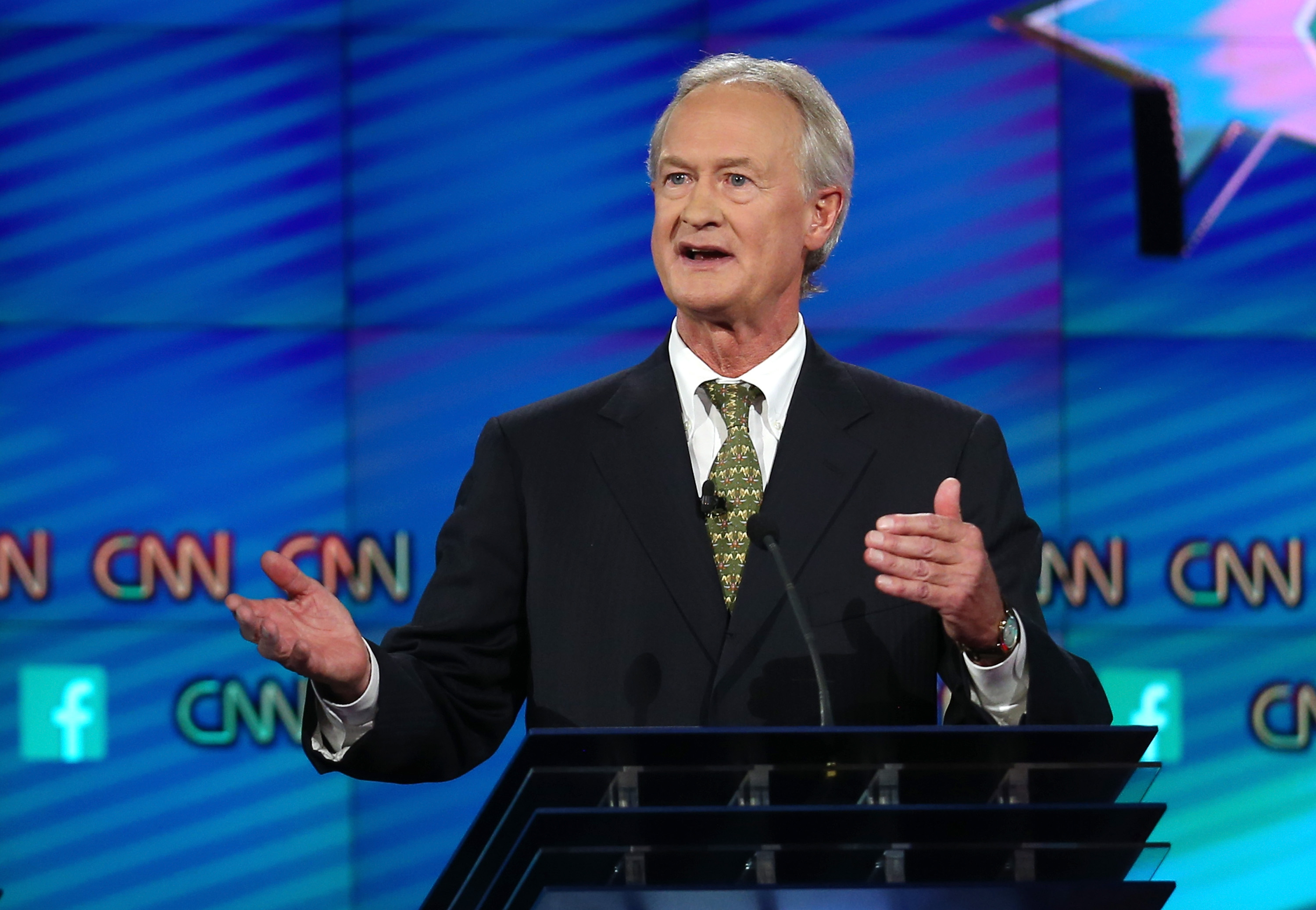 Former presidential candidate Lincoln Chafee at the Democratic debate in Las Vegas earlier this month.