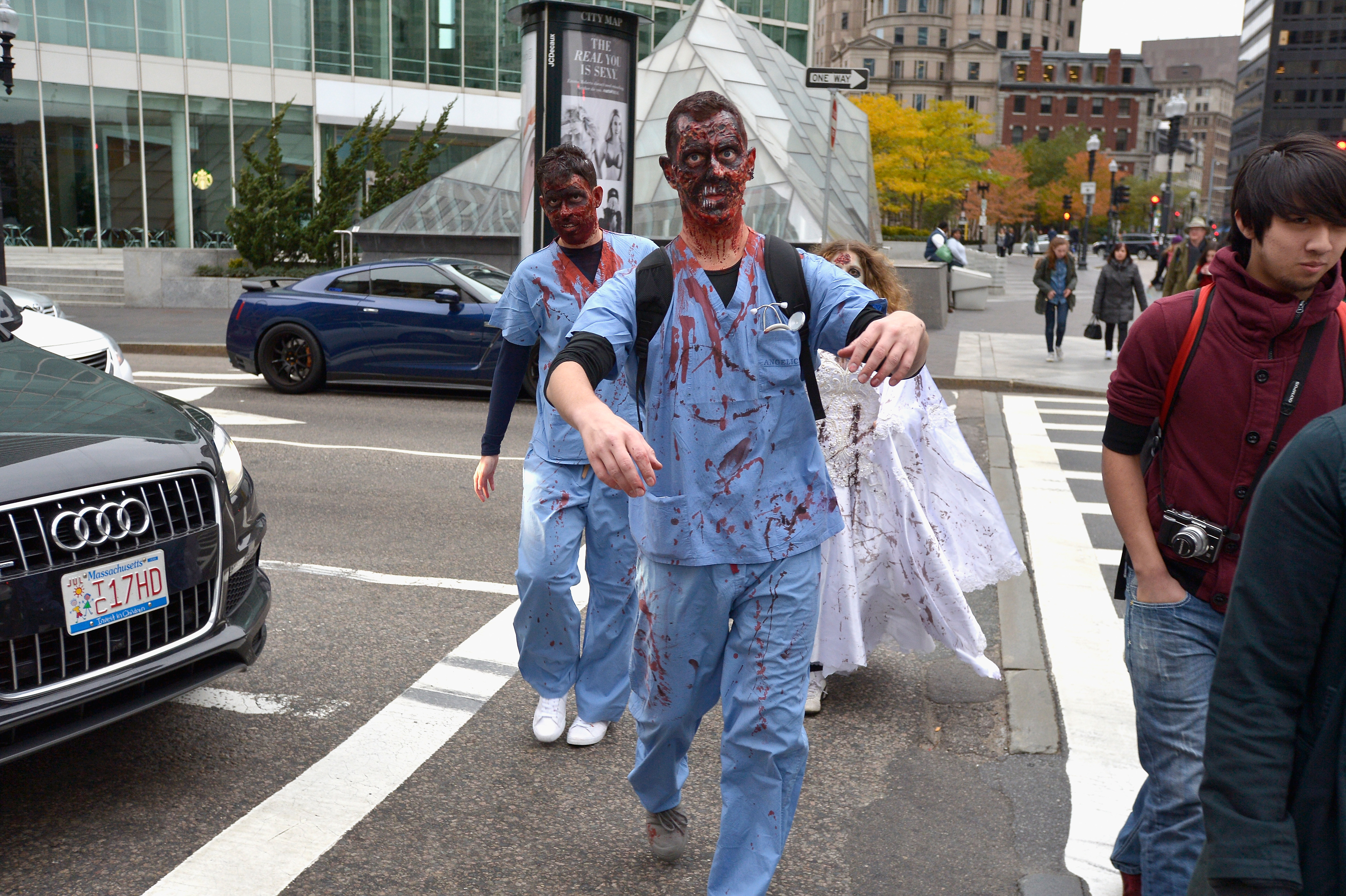 The undead hit the streets in Boston's Zombie March on Oct. 24, 2015.