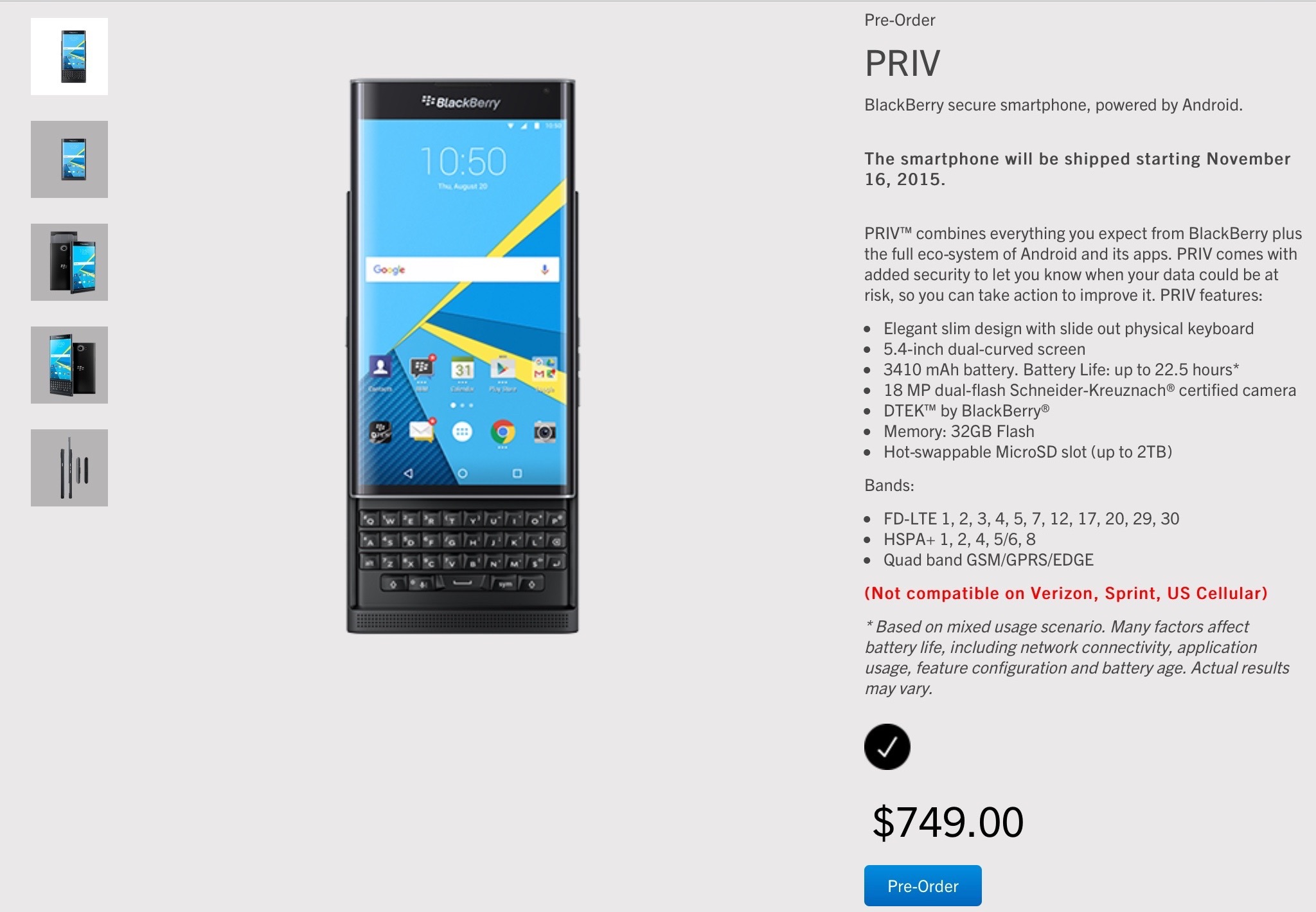 BlackBerry's pre-order page for its first Android-powered smartphone, the BlackBerry Priv