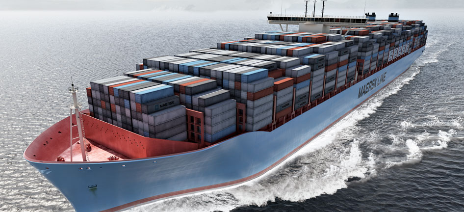 A Maersk ship and containers.