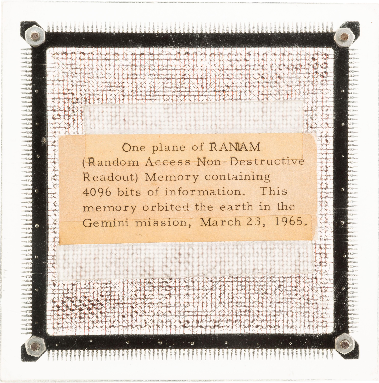 A Gemini 3-flown Random Access Non-Destructive Readout 4096 Bit Memory Plane from the Gemini Spacecraft computer.