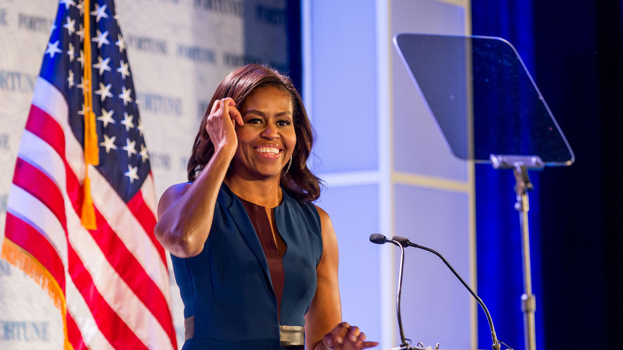 First Lady Michelle Obama speaks at the Fortune Most Powerful Women Summit