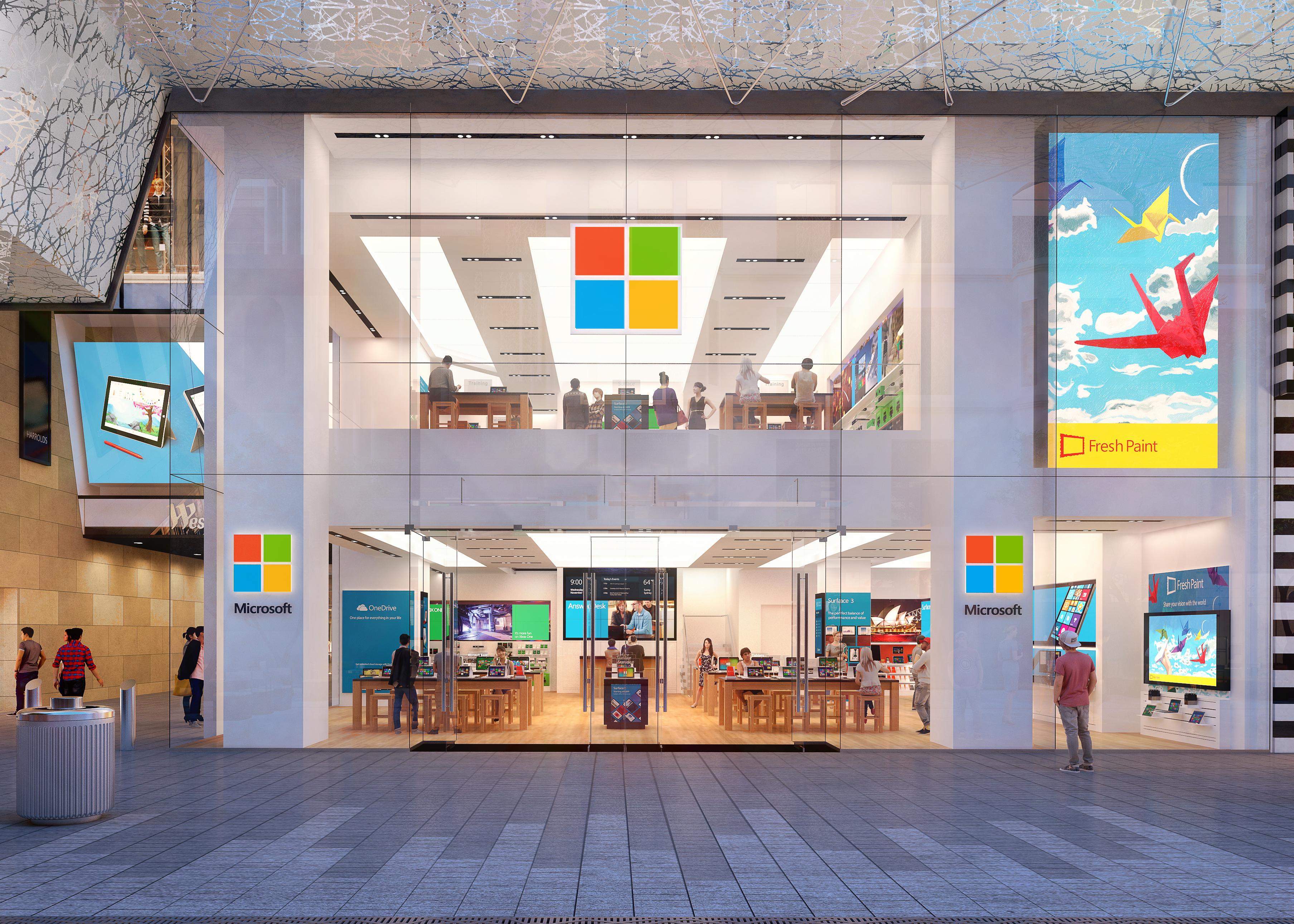 Microsoft's first international flagship store opens on Pitt Street Mall in Sydney in  November 2015.