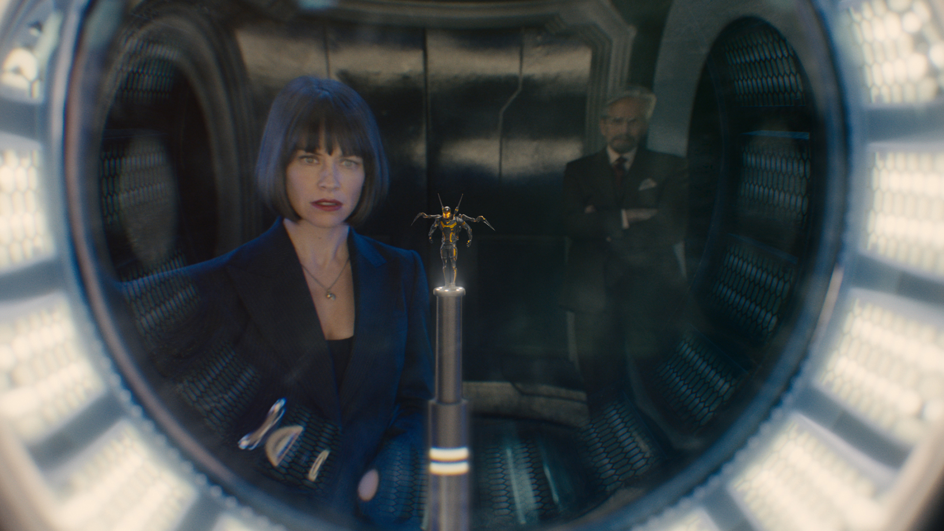 Marvel's Ant-Man..L to R: Hope Van Dyne (Evangeline Lilly), the Yellowjacket suit, and Hank Pym (Michael Douglas)..Photo Credit: Film Frame..? Marvel 2015