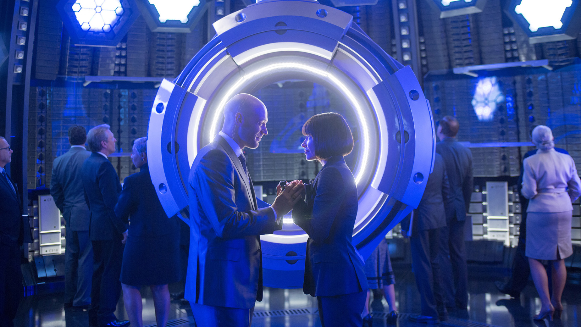 Marvel's Ant-Man..L to R: Darren Cross (Corey Stoll) and Hope Van Dyne (Evangeline Lilly)..Photo Credit: Zade Rosenthal..? Marvel 2014
