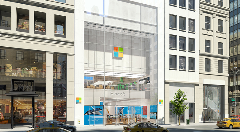Microsoft's flagship story on New York's Fifth Avenue replaces a former Fendi boutique.