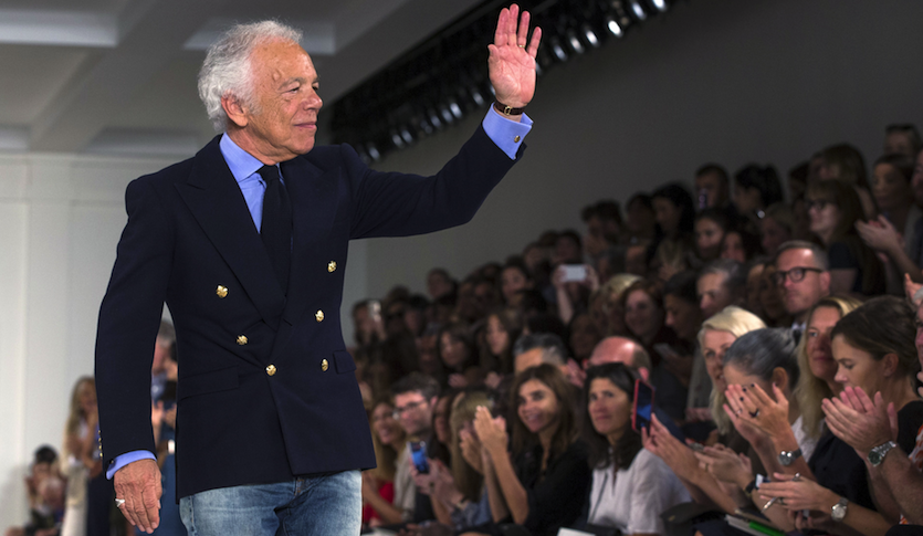 Ralph Lauren greets the crowd after presenting his Spring/Summer 2016 collection during New York Fashion Week in September.