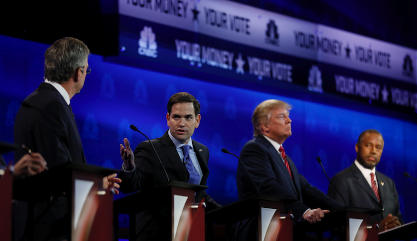 Left to right: Jeb Bush, Marco Rubio, Donald Trump, and Ben Carson at Wednesday night's Republican presidential debate on CNBC.