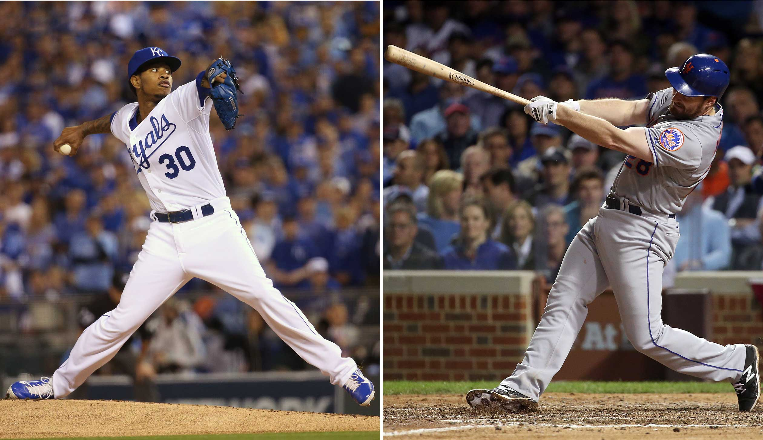 Kansas City Royals starting pitcher Yordano Ventura, left, during a 2015 ALCS game against the Toronto Blue Jays, and Daniel Murphy of the New York Mets during an NLCS game against the Chicago Cubs.
