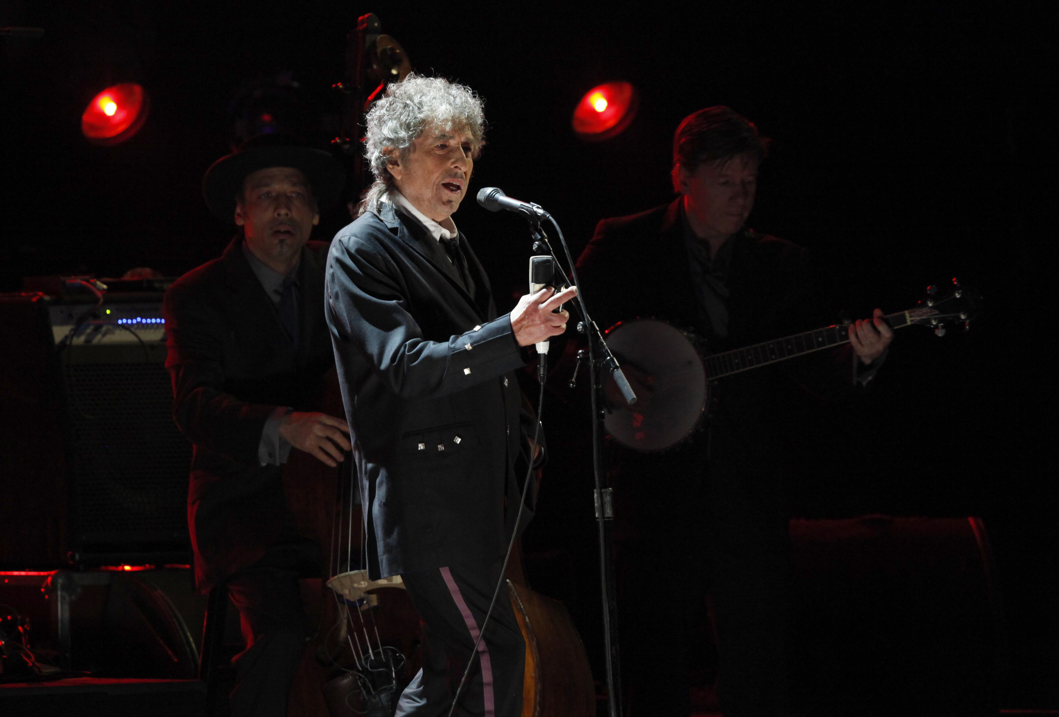 Bob Dylan performs during a segment honoring Director Martin Scorsese at the 17th Annual Critics' Choice Movie Awards in Los Angeles