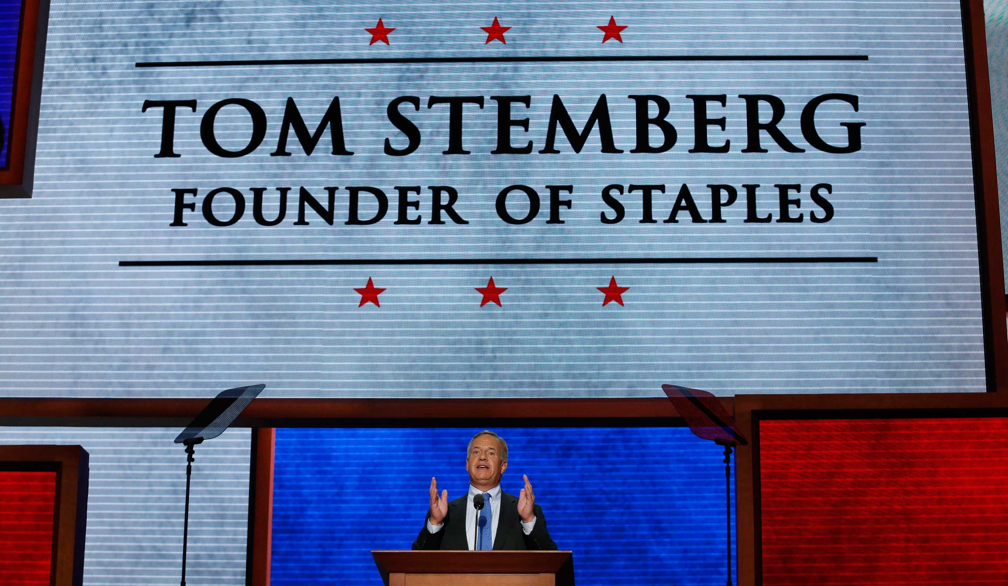 Stemberg, of the Staples chain of office supply stores, offers a testimonial to Republican presidential nominee Romney during the final session of the Republican National Convention in Tampa