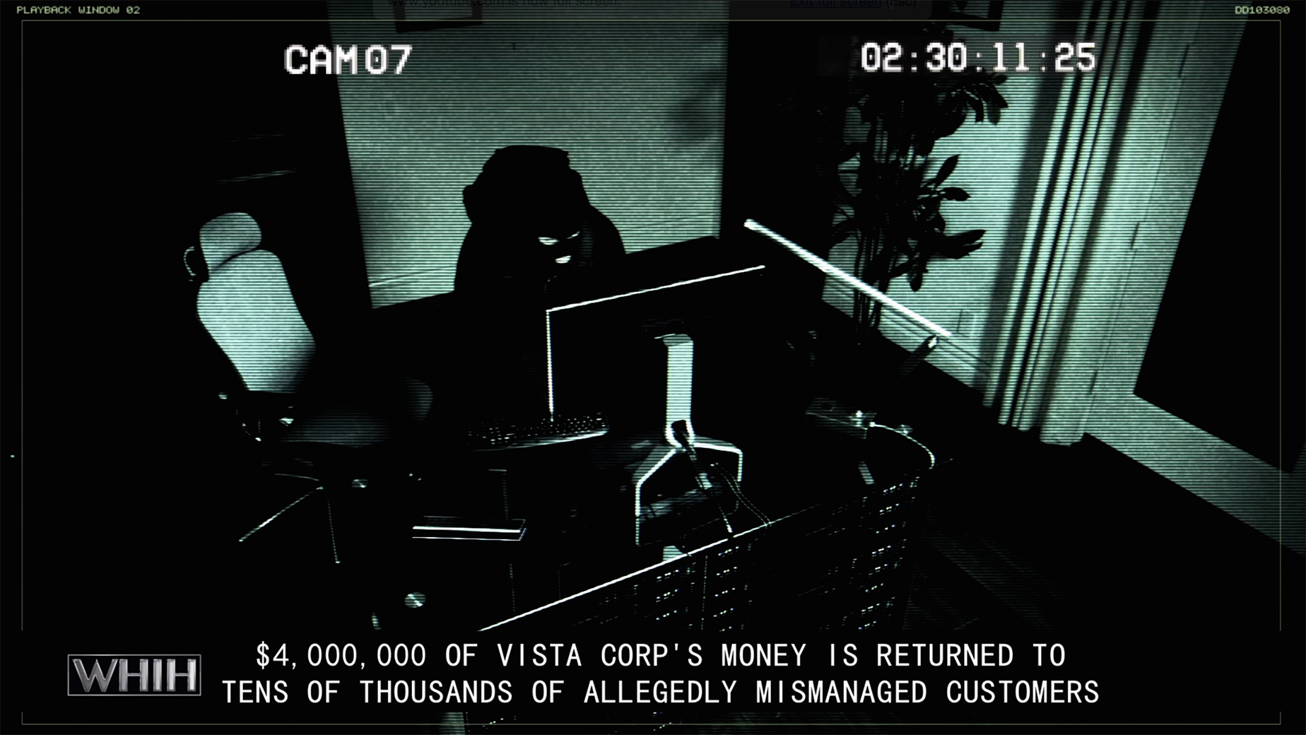 WHIH EXCLUSIVE: 2012 VistaCorp break-in security footage involving cyber-criminal Scott Lang.