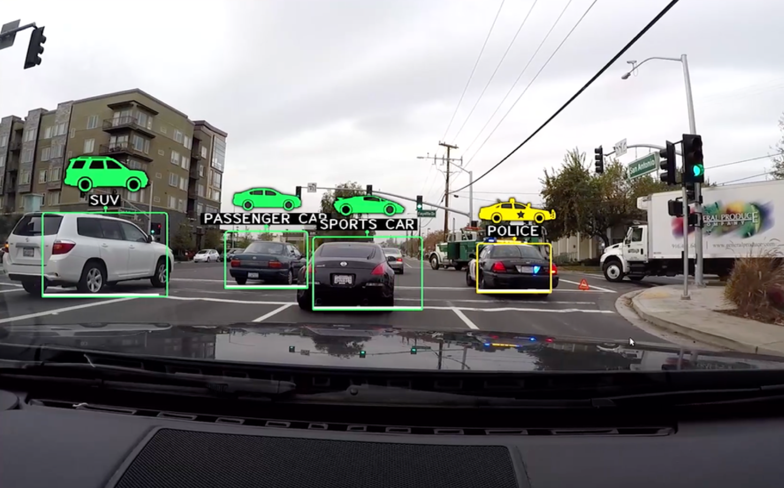 How Nvidia's Drive PX self-driving car system sees the world.