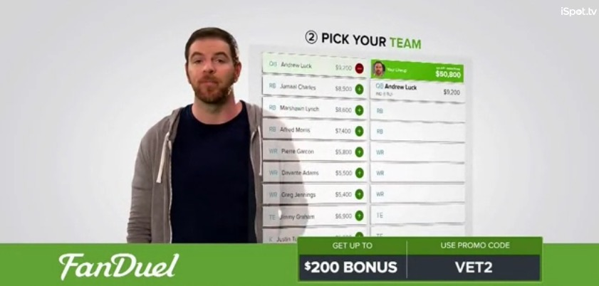 A shot from a FanDuel television ad.