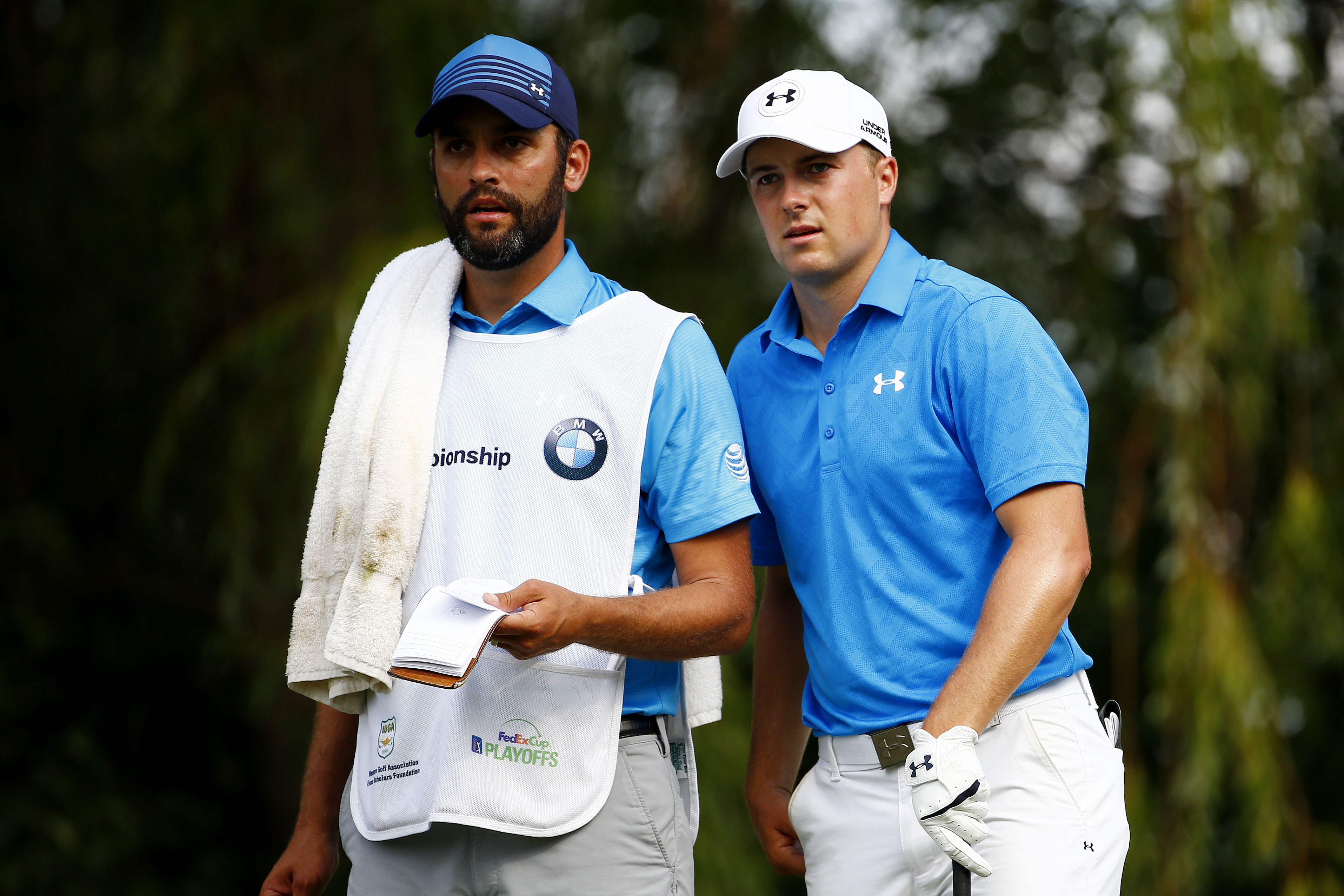 during the First Round of the BMW Championship at Conway Farms Golf Club on September 17, 2015 in Lake Forest, Illinois.