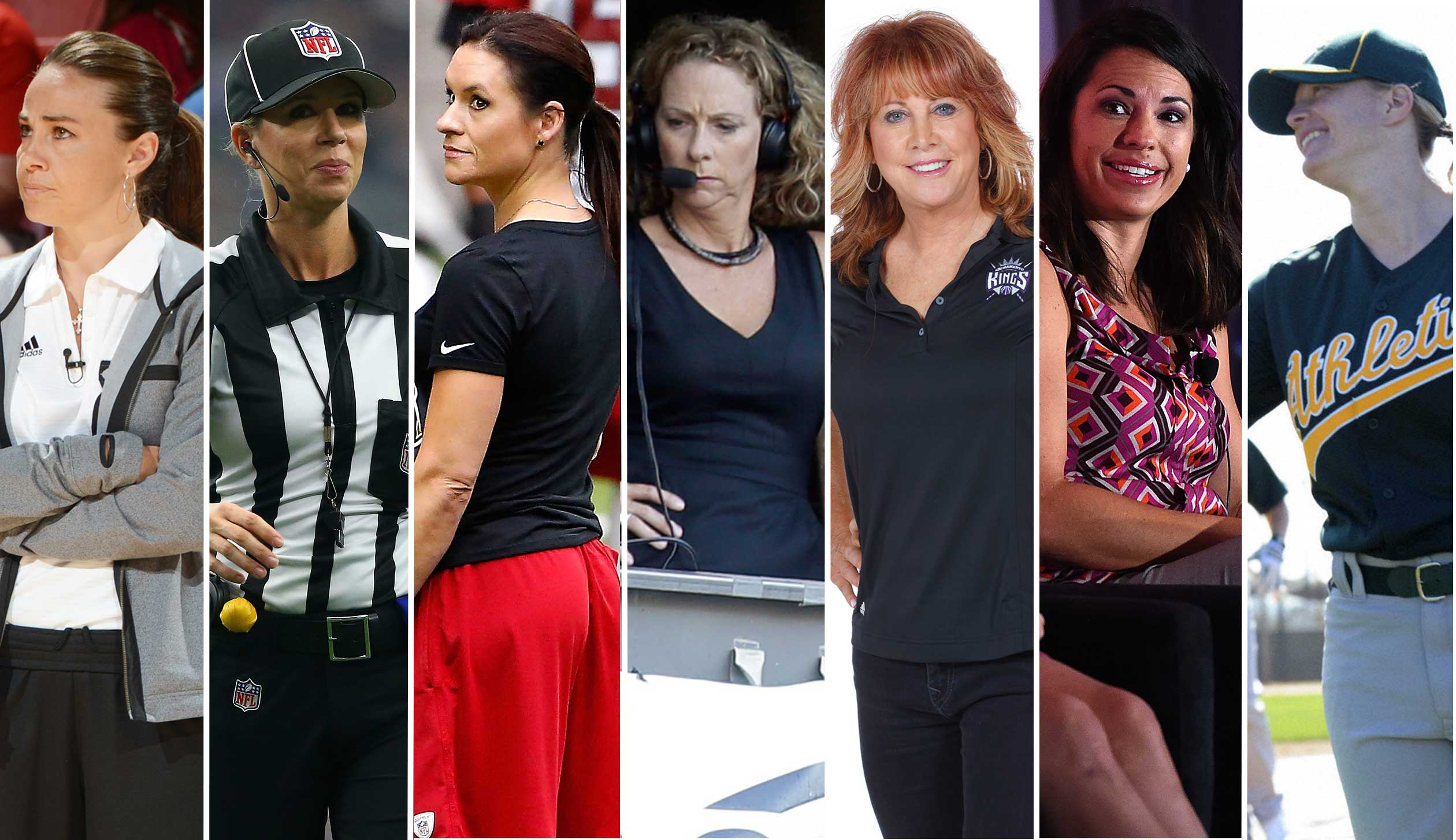 Becky Hammon, left, Sarah Thomas, Jen Welter, Beth Mowins, Nancy Lieberman, Jessica Mendoza and Justine Siegal.
