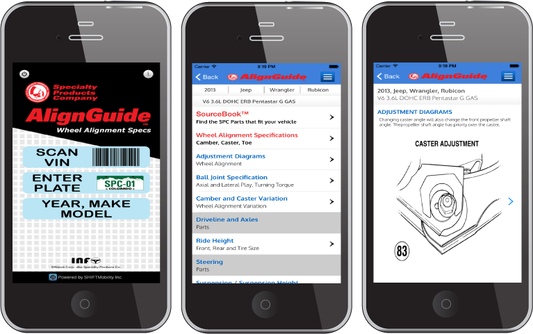 The AlignGuide app helps in diagnosing and correcting alignment and suspension problems in models dating back to 1985.