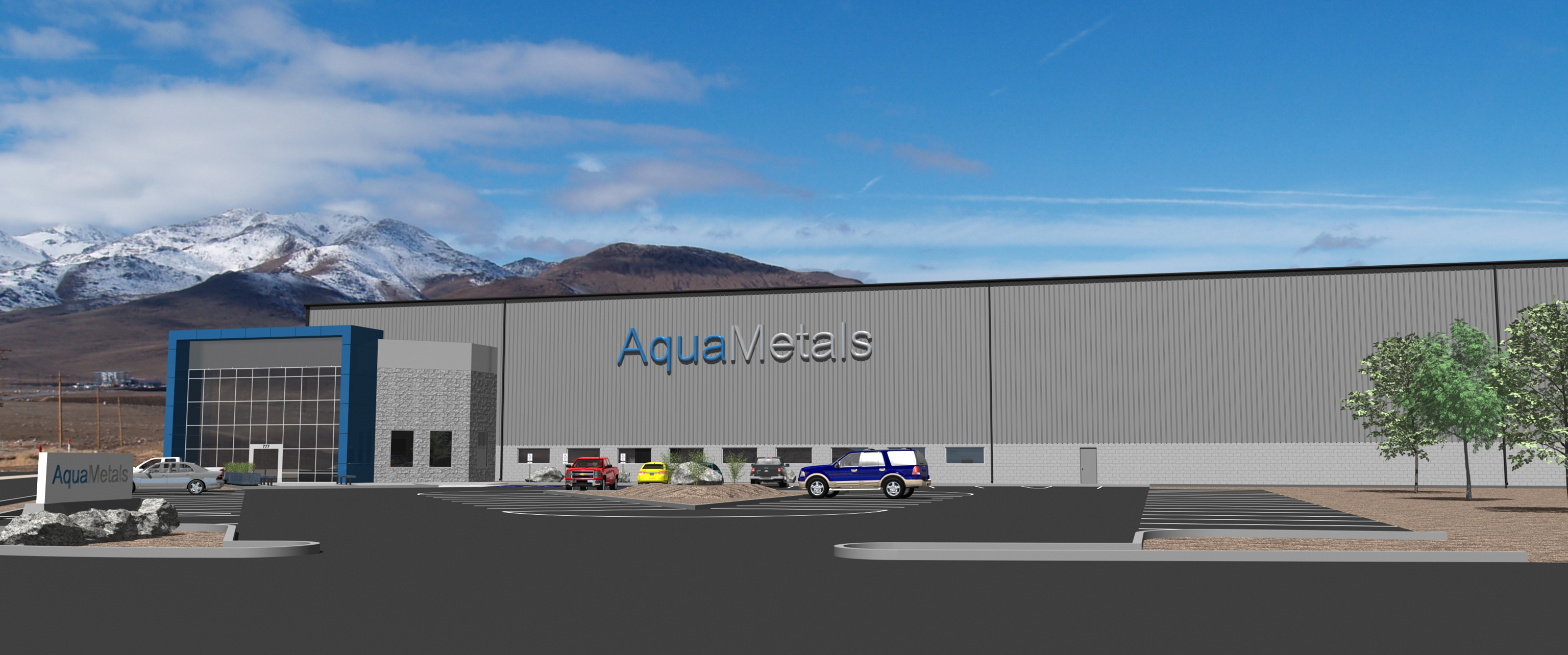 A mockup image of Aqua Metal's lead acid battery recycling facility in Nevada.
