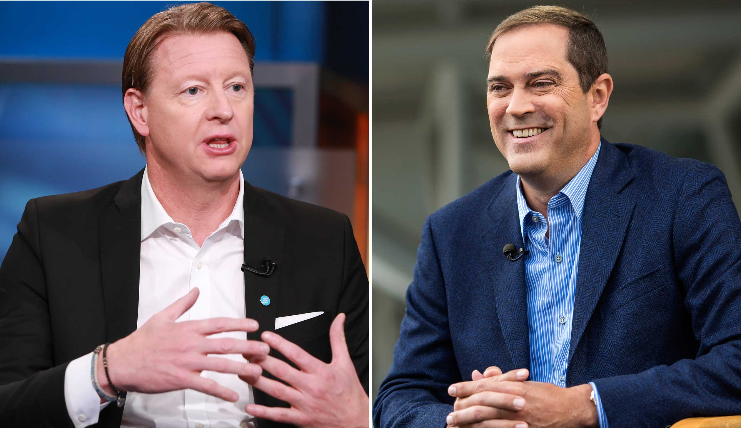 Hans Vestberg, President and CEO of Ericsson, left, and Chuck Robbins, CEO of Cisco.