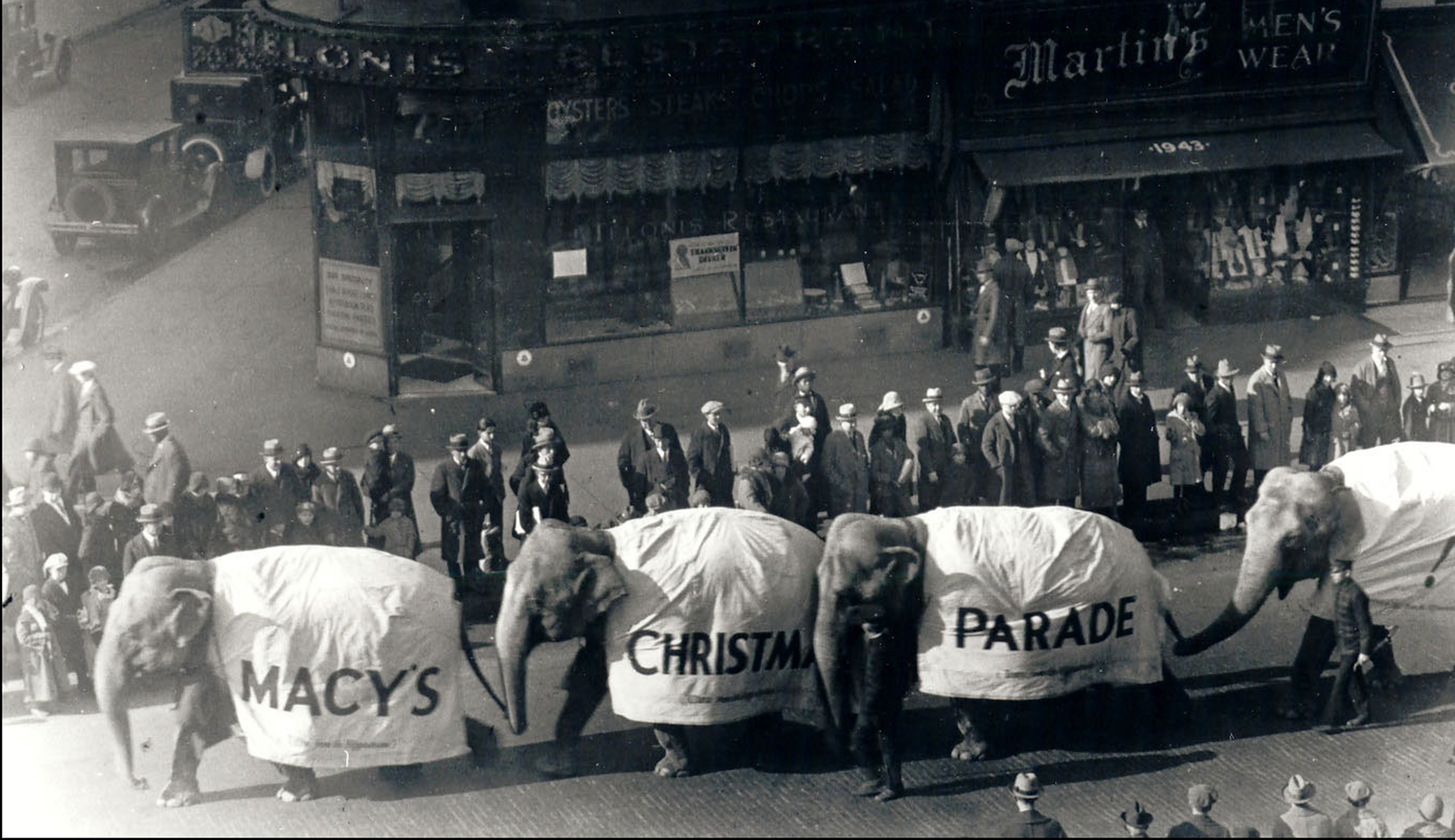 Elephants in the first Macy's Parade, then called Macy's Christmas Parade in 1924. The parade was started by Macy's employees.