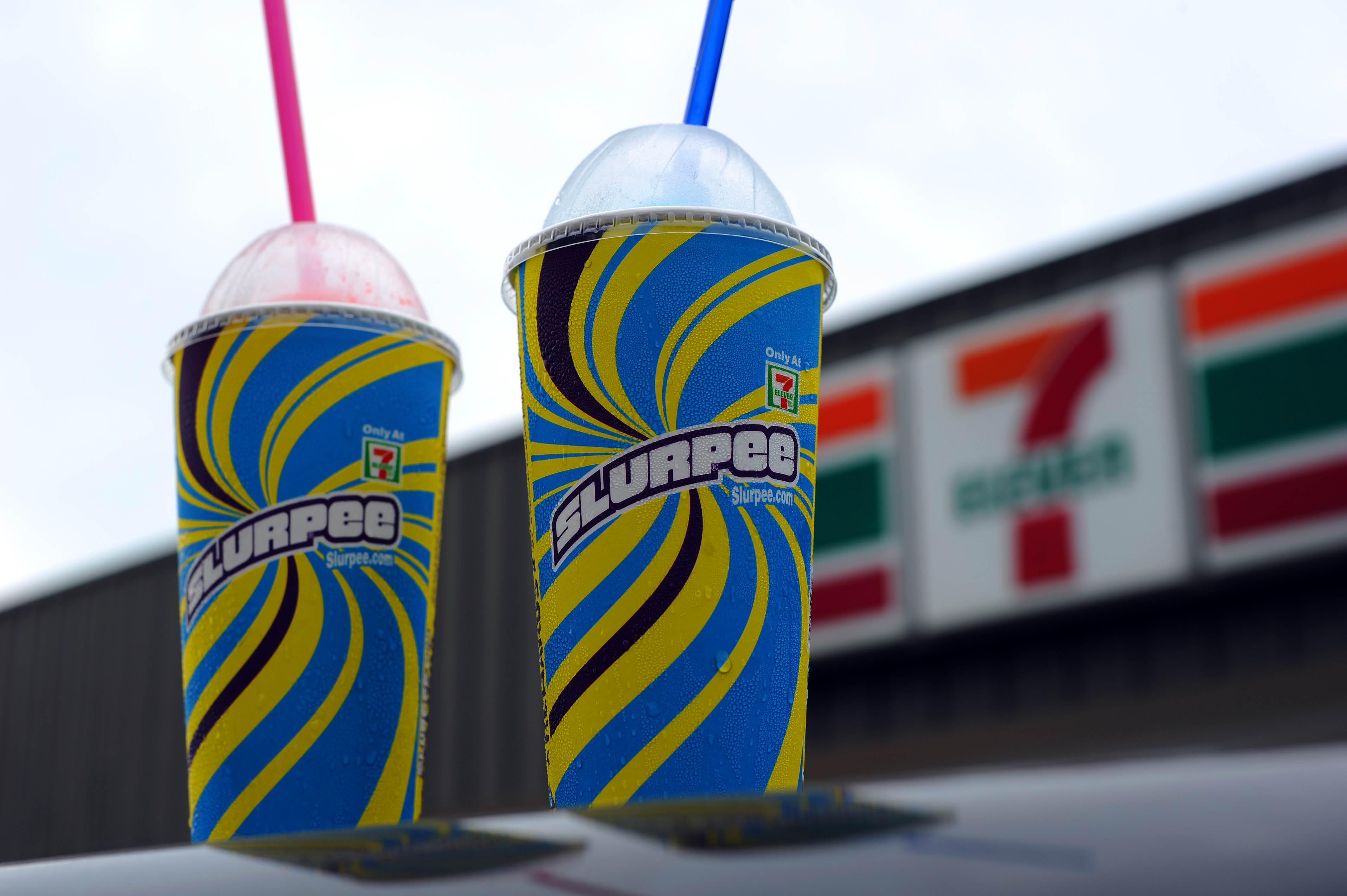 An illustration of Two, 7-Eleven Slurpee