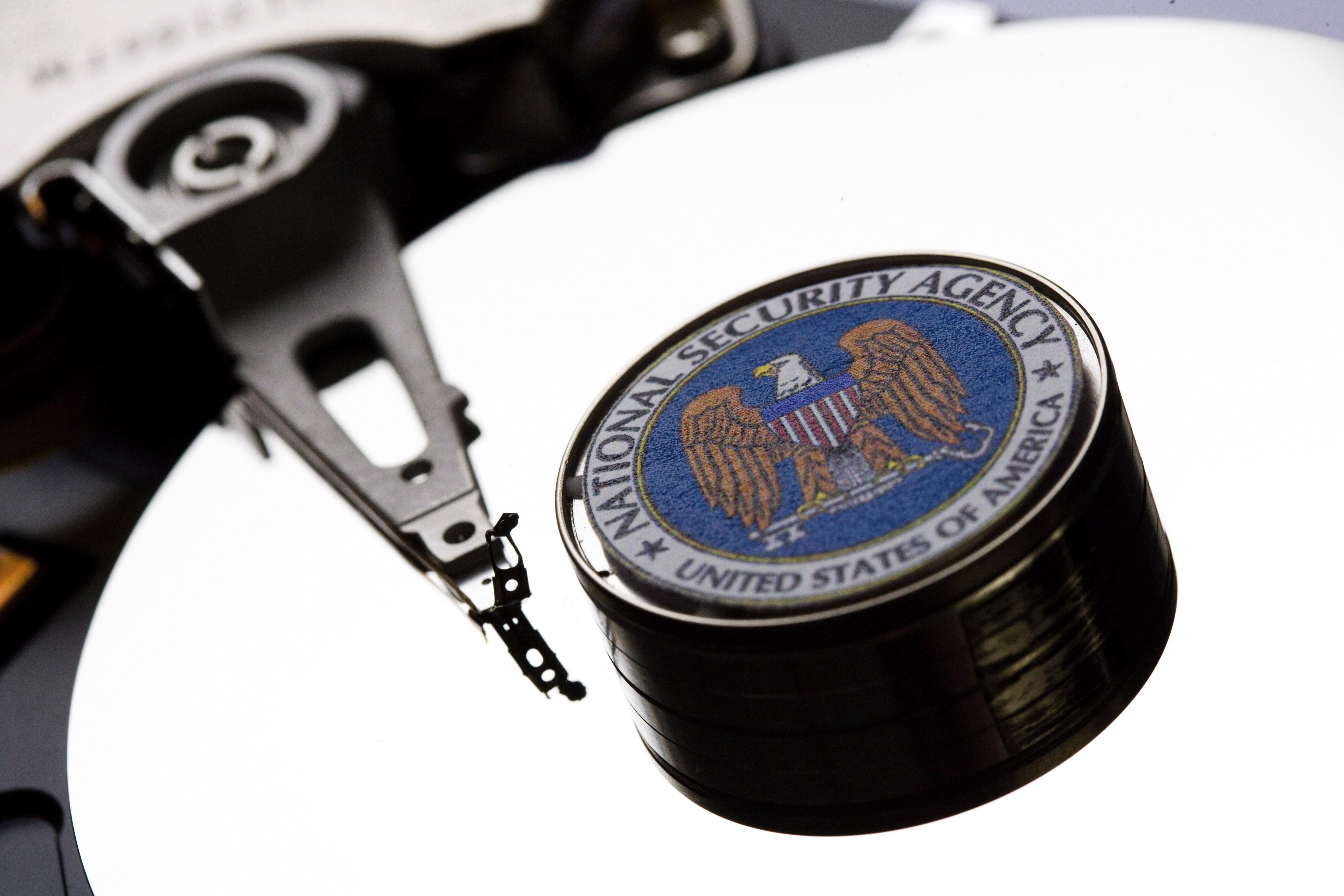 Symbol Photo Computer Hard Drive With NSA Logo.