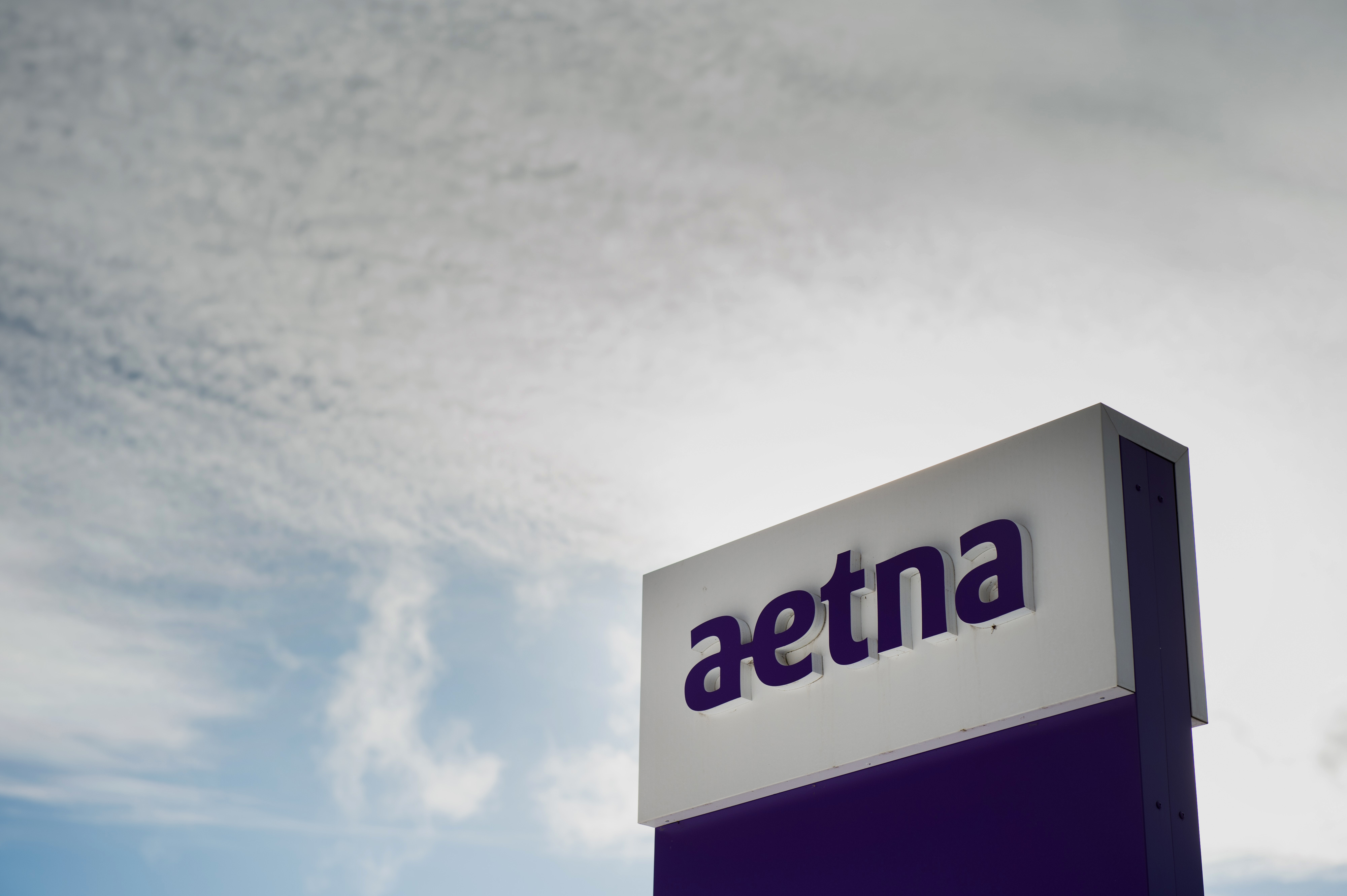 Aetna sign outside the company's corporate headquarters in Hartford, Conn.