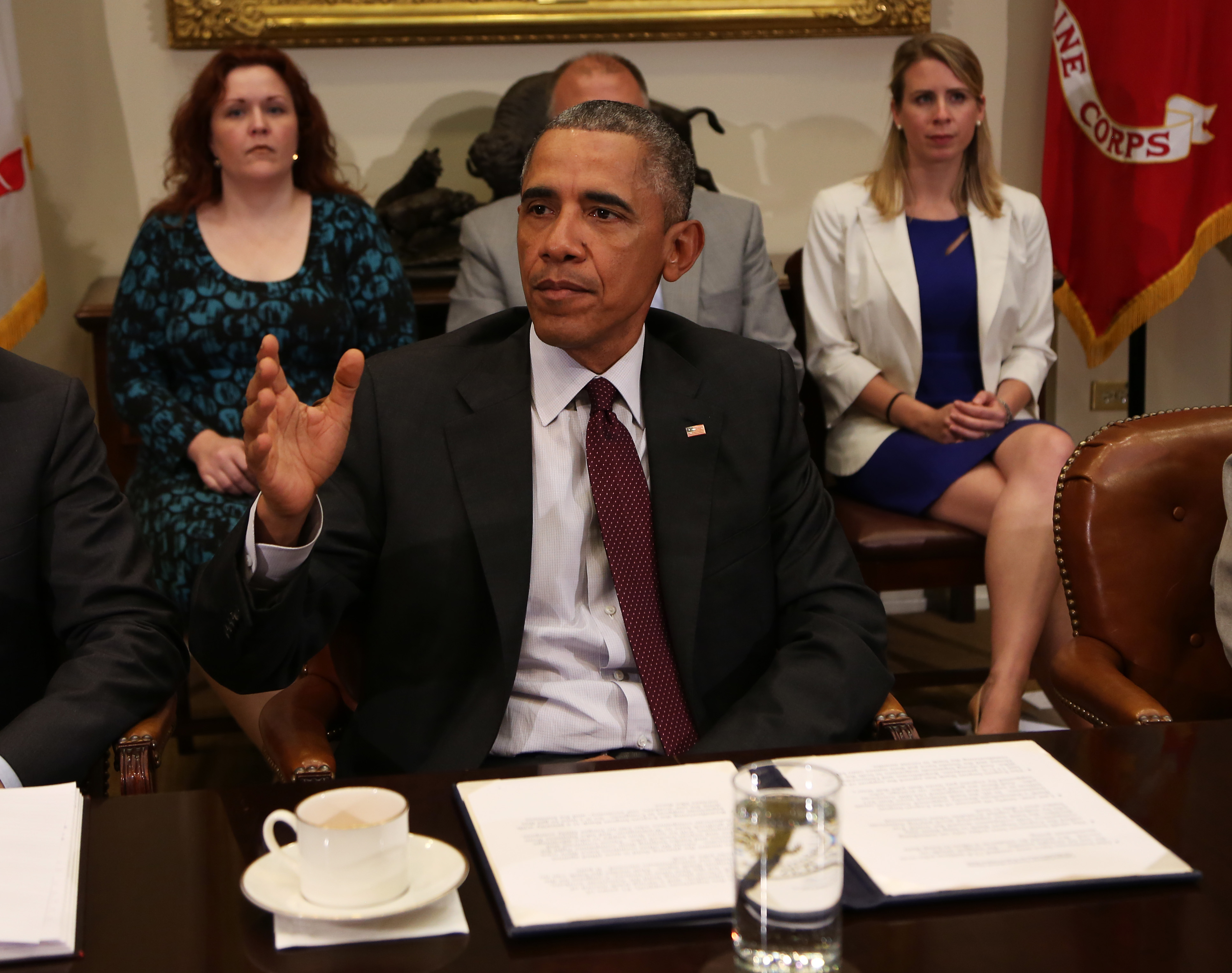 US President Barack Obama meets with small business owners to discuss the importance of the reauthorization of the Export-Import Bank in the Roosevelt Room of the White House on July 21, 2015, in Washington, DC.