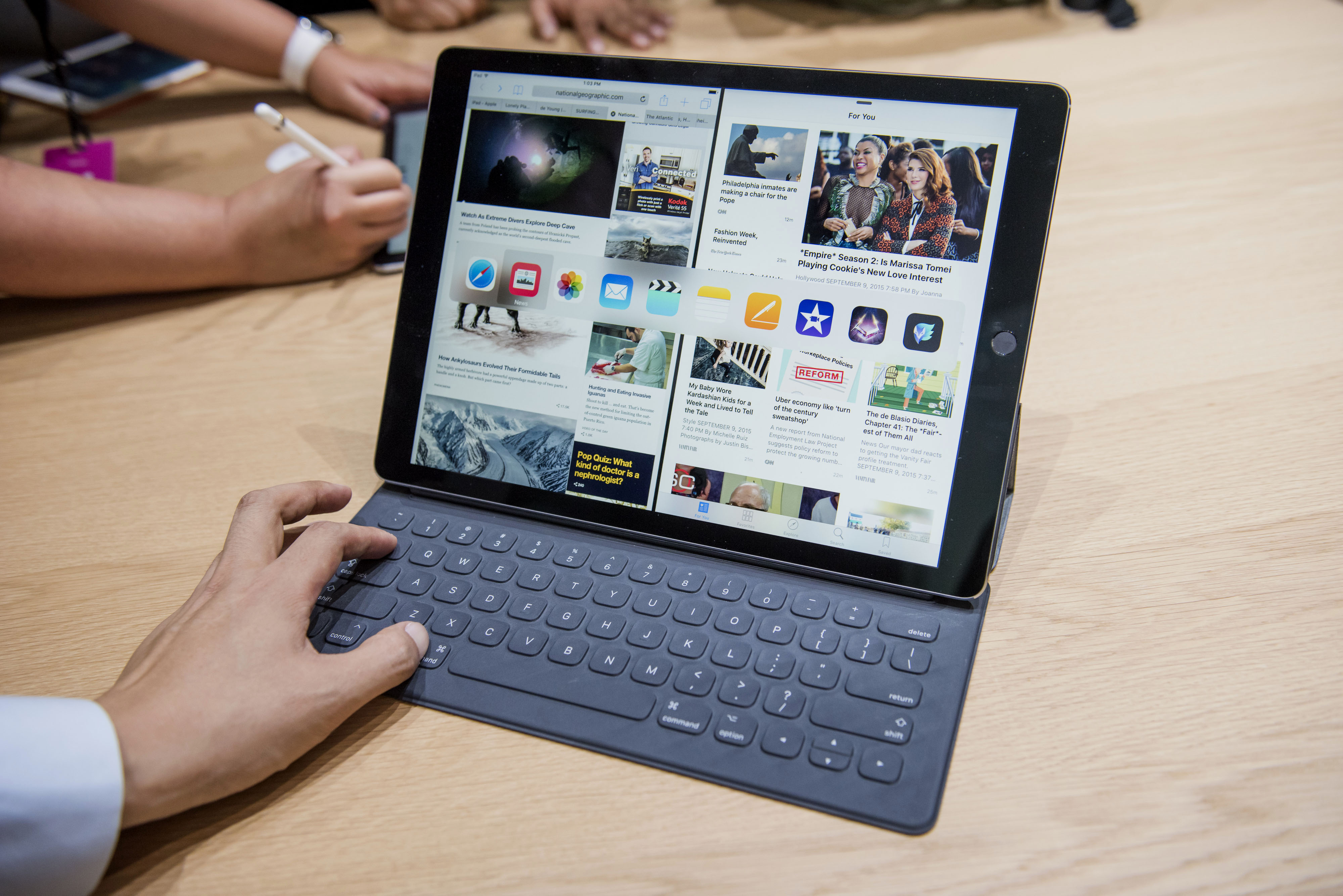 A new keyboard is displayed with the new Apple Inc. iPad Pro during an Apple product announcement in San Francisco, California, U.S., on Wednesday, Sept. 9, 2015. Apple Inc. introduced a larger iPad with a 12.9-inch screen, designed to attract business users and jump-start demand for its tablets. Photographer: David Paul Morris/Bloomberg