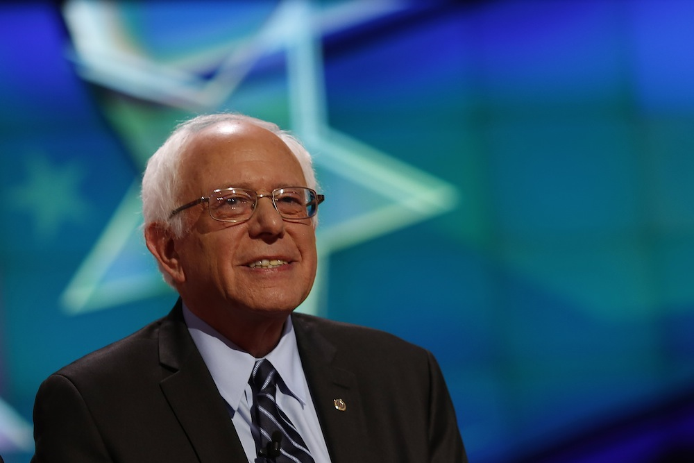 Presidential candidate Bernie Sanders before the start of the first Democratic debate in Las Vegas on October 13, 2015.